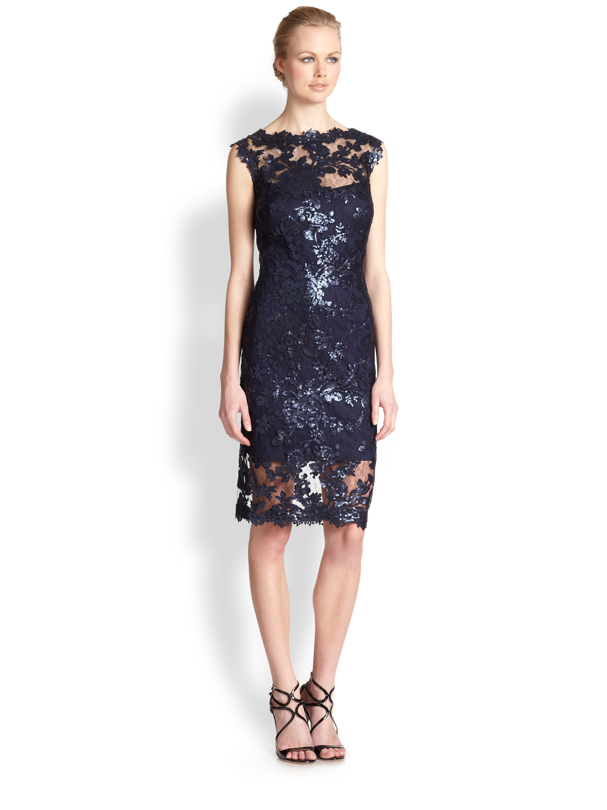 Lyst Tadashi Shoji Sequined Lace Dress In Blue