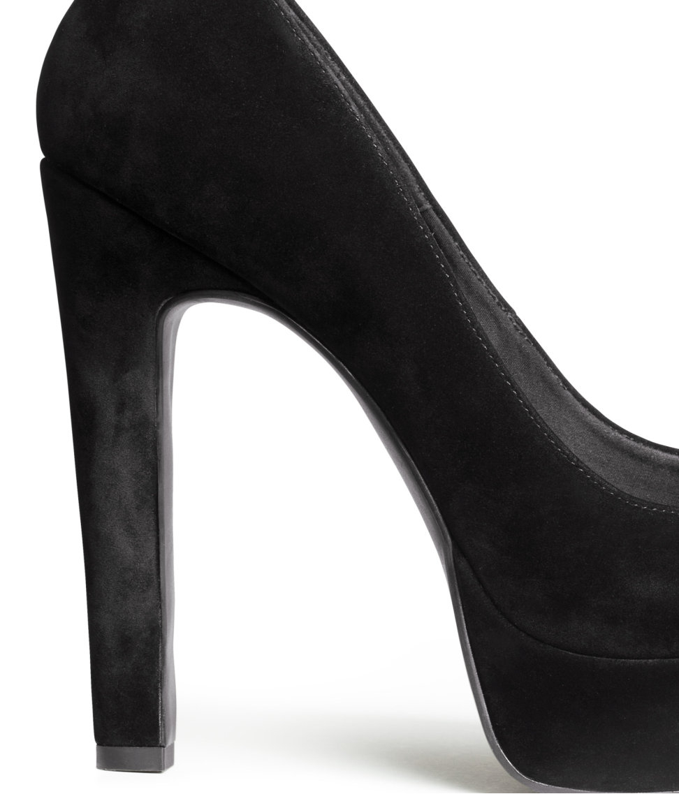 H&m Platform Court Shoes in Black | Lyst
