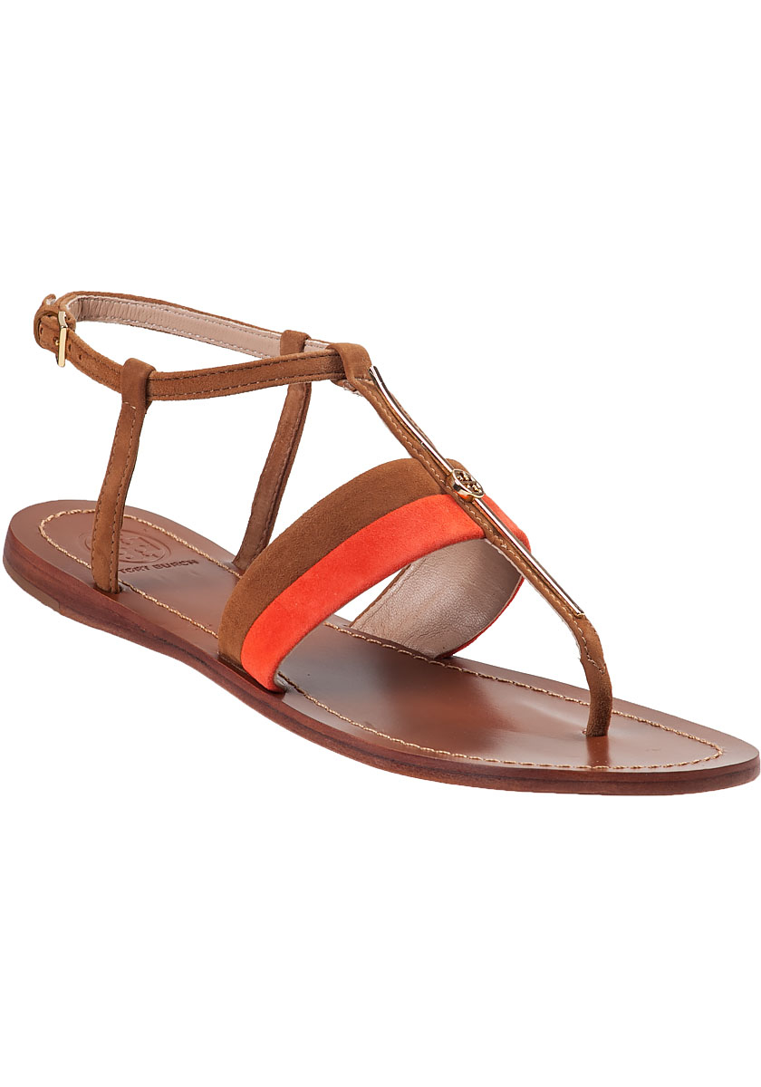 Tory Burch Bar Logo Flat Sandal Natural Suede In Orange Lyst