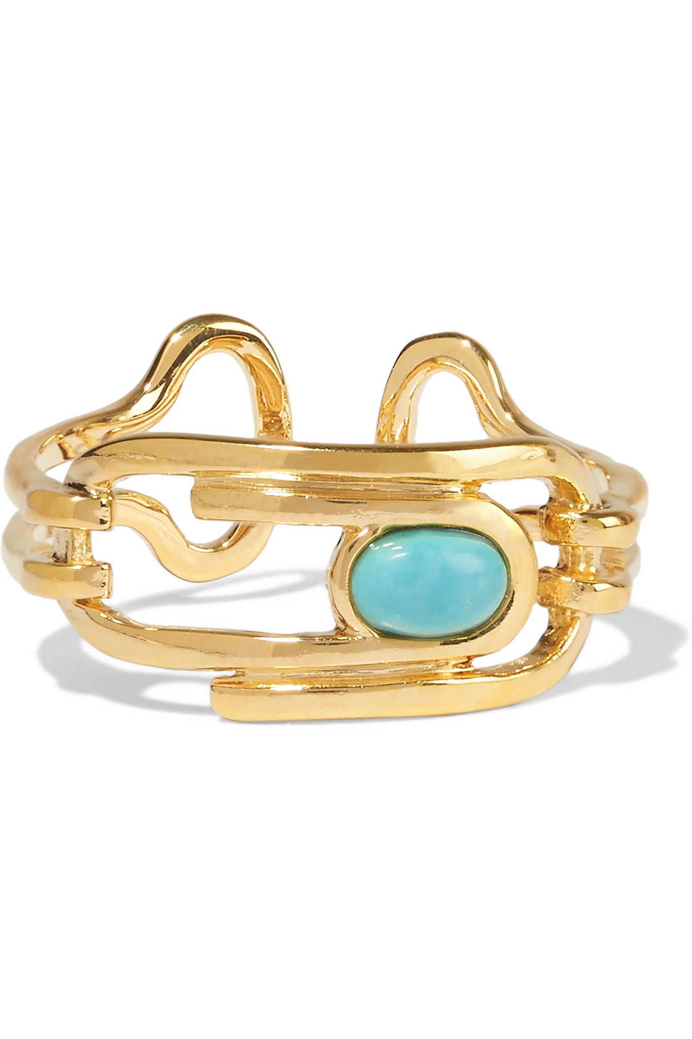 Aurélie Bidermann Miki Turquoise Ring in Turquoise 18K Gold-Plated Brass vEYzcYwN3