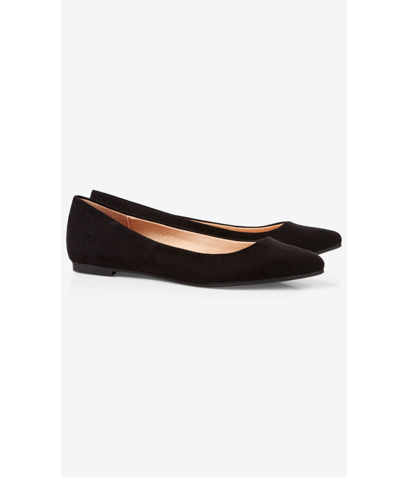 Lyst Express Black Faux Suede Pointed Toe Flat In Black