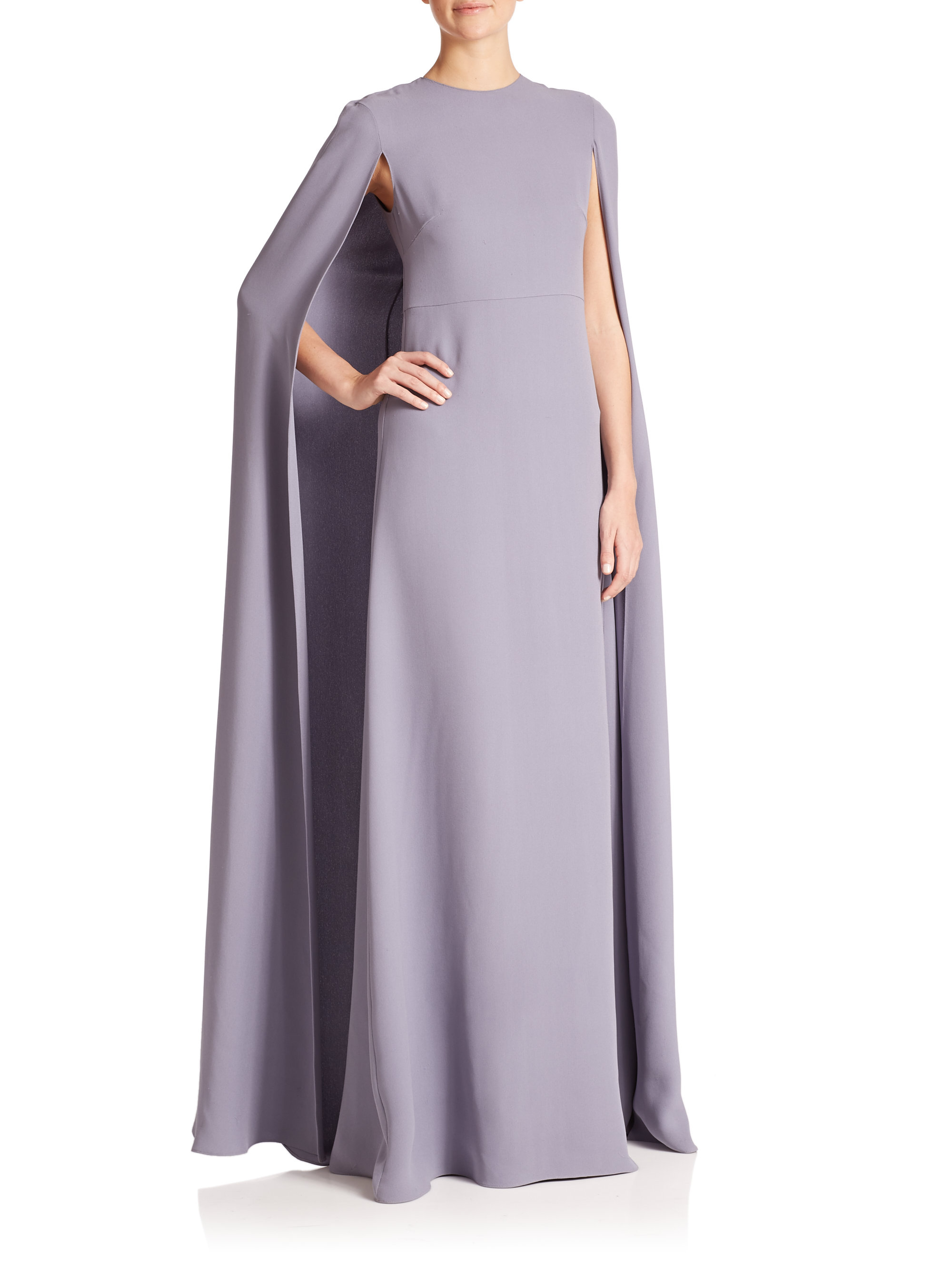 lyst valentino silk cape gown in blue