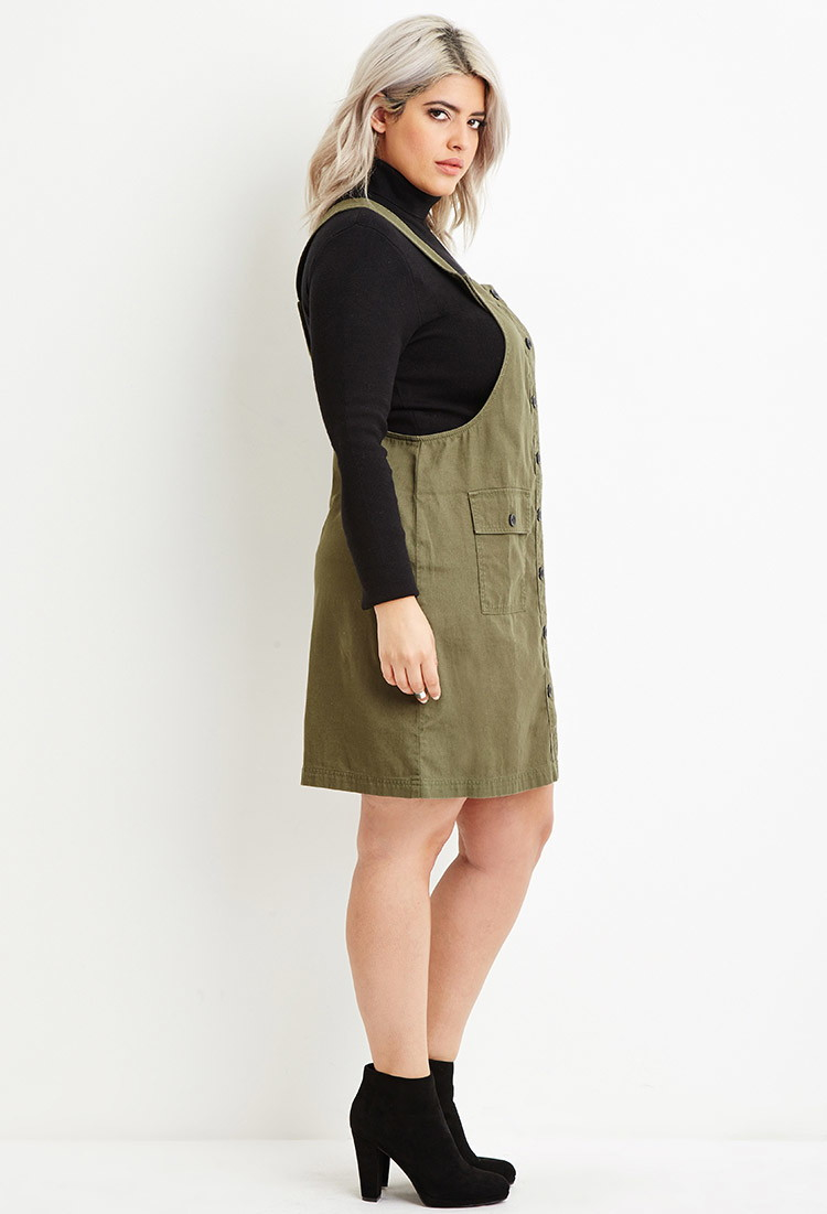 Forever 21 Green Plus Size Cargo Overall Dress