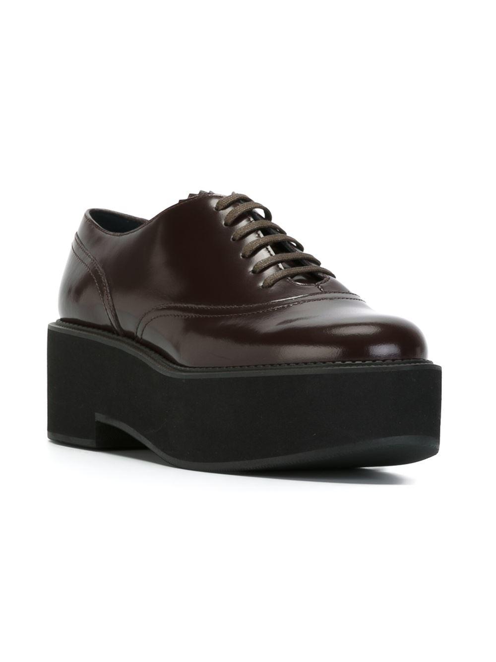 Jil Sander Navy Platform Lace Up Shoes In Brown Lyst