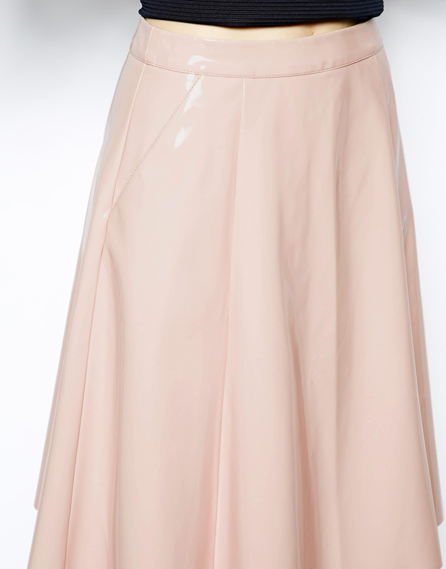 Asos Full Midi Skirt In Patent Leather Look in Pink | Lyst