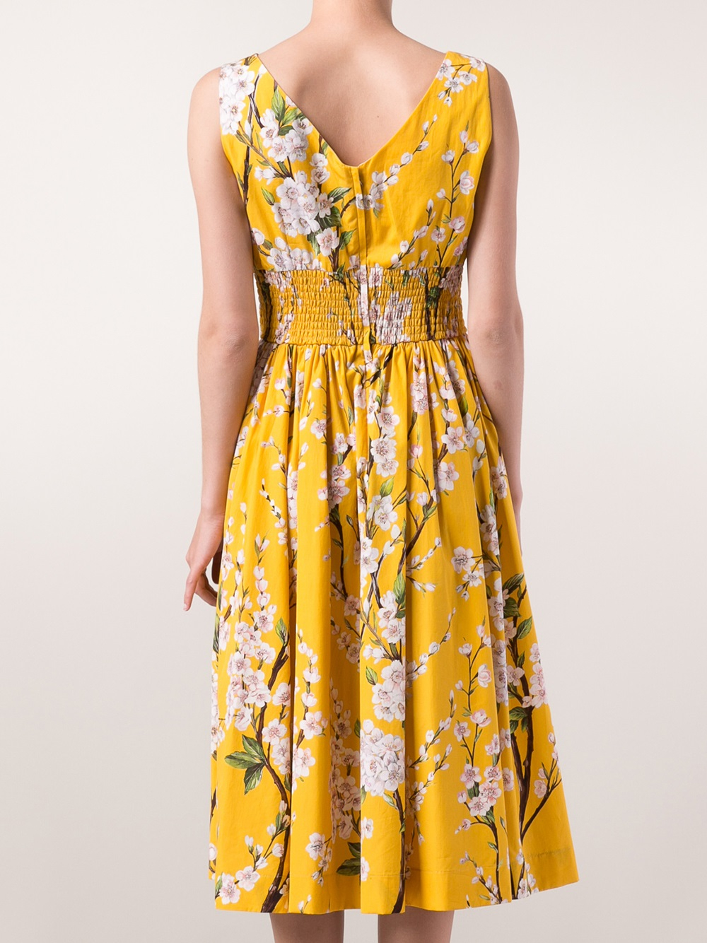 Lyst - Dolce U0026 Gabbana Floral Branch Dress In Yellow