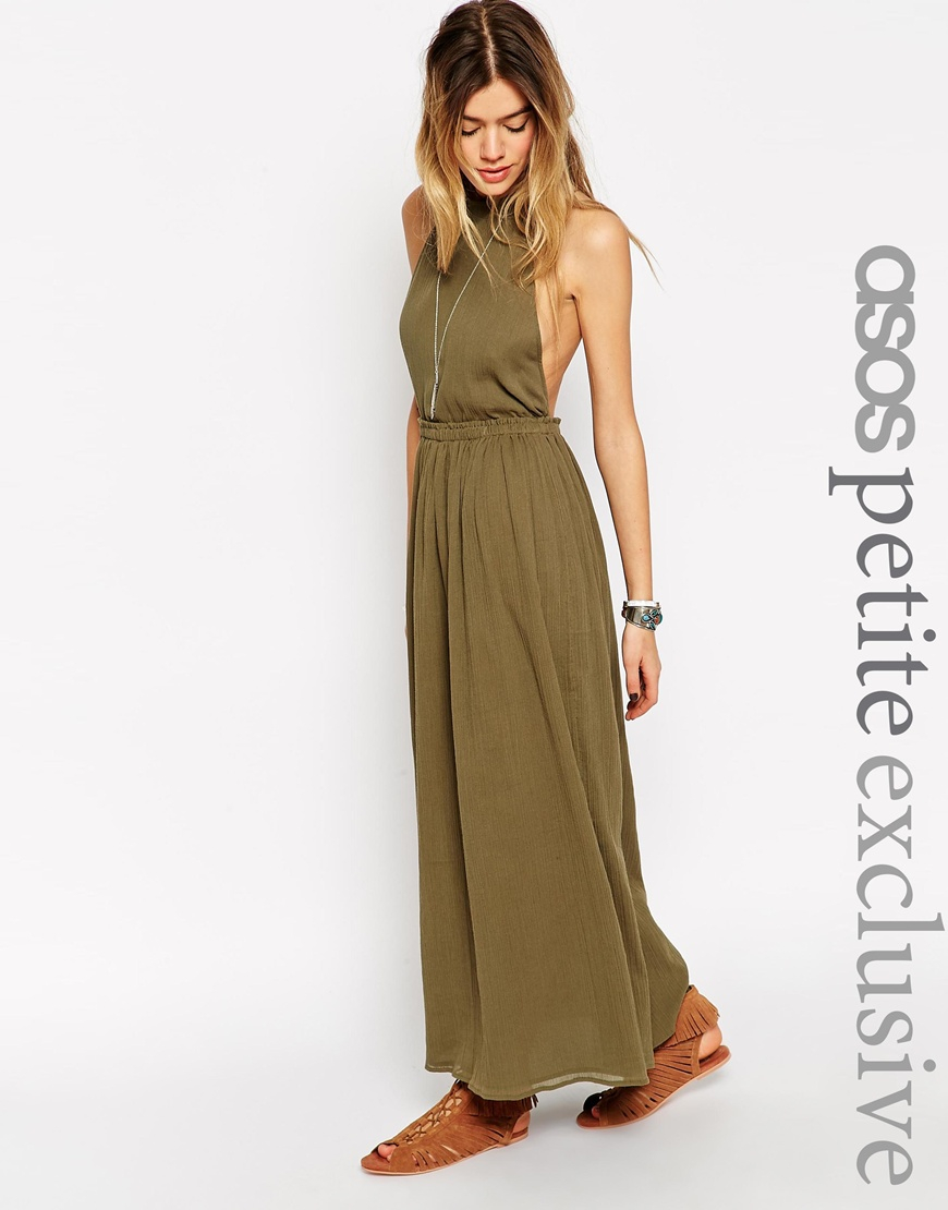 Maxi Jurk Halter.Asos Maxi Dress In Cheesecloth With Halter Neck In Natural Lyst