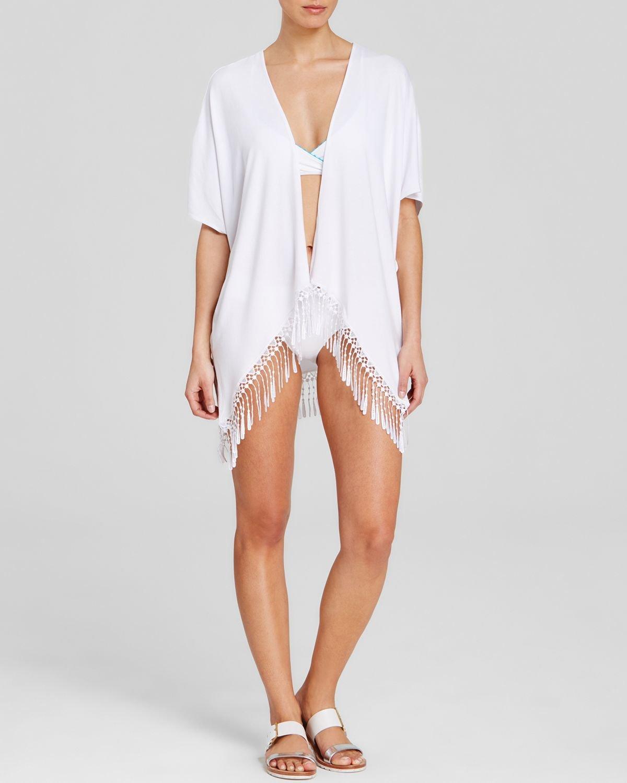 Becca Becca By Rebecca Virtue Fringe Benefits Swim Cover Up Kimono In White Lyst