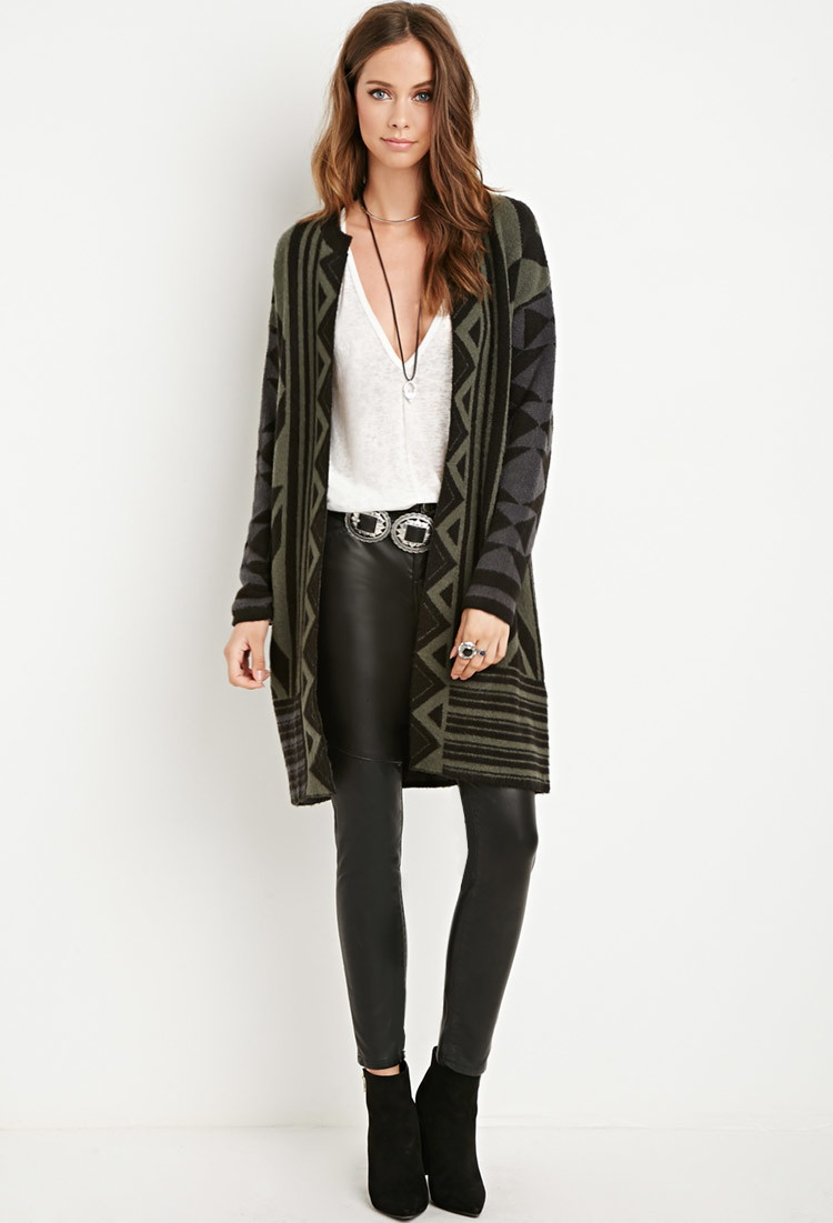 Forever 21 Geo-patterned Open-front Cardigan in Green | Lyst
