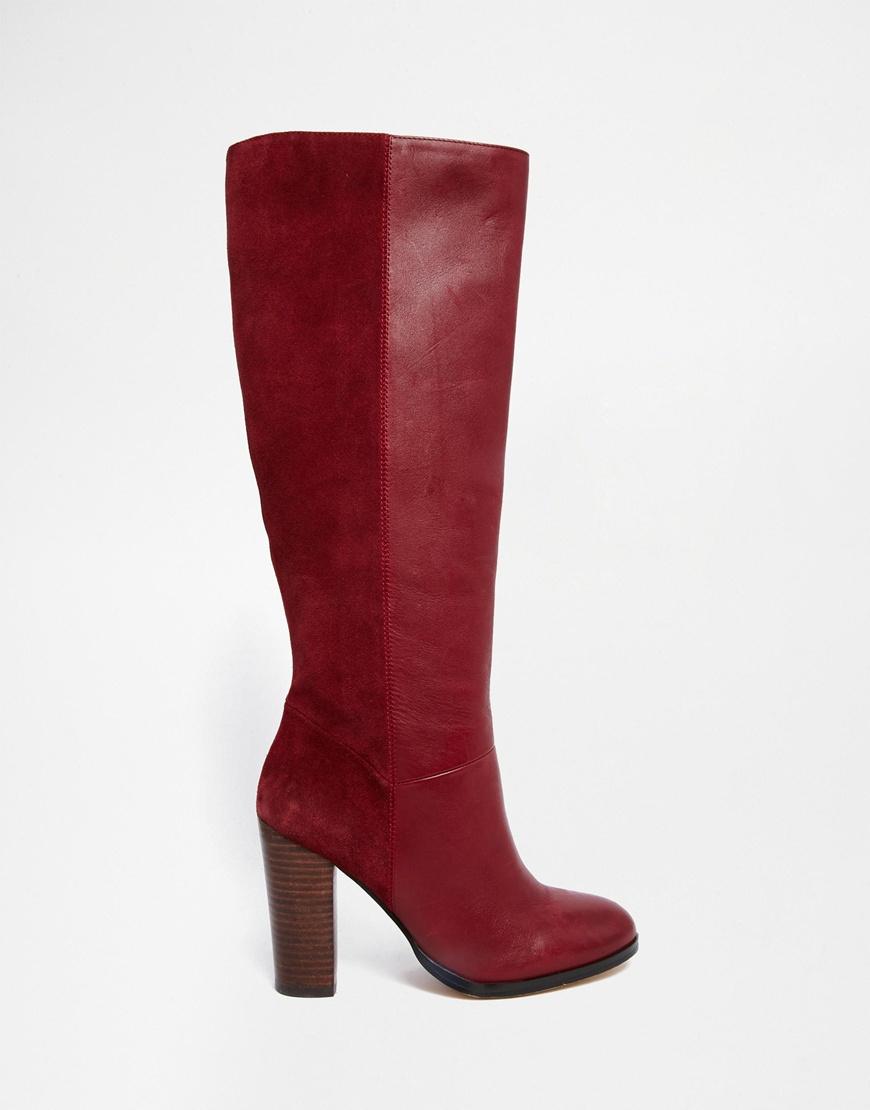 176b9807a63dd Faith Purple Maybach Bordeaux Leather Knee Heeled Boots