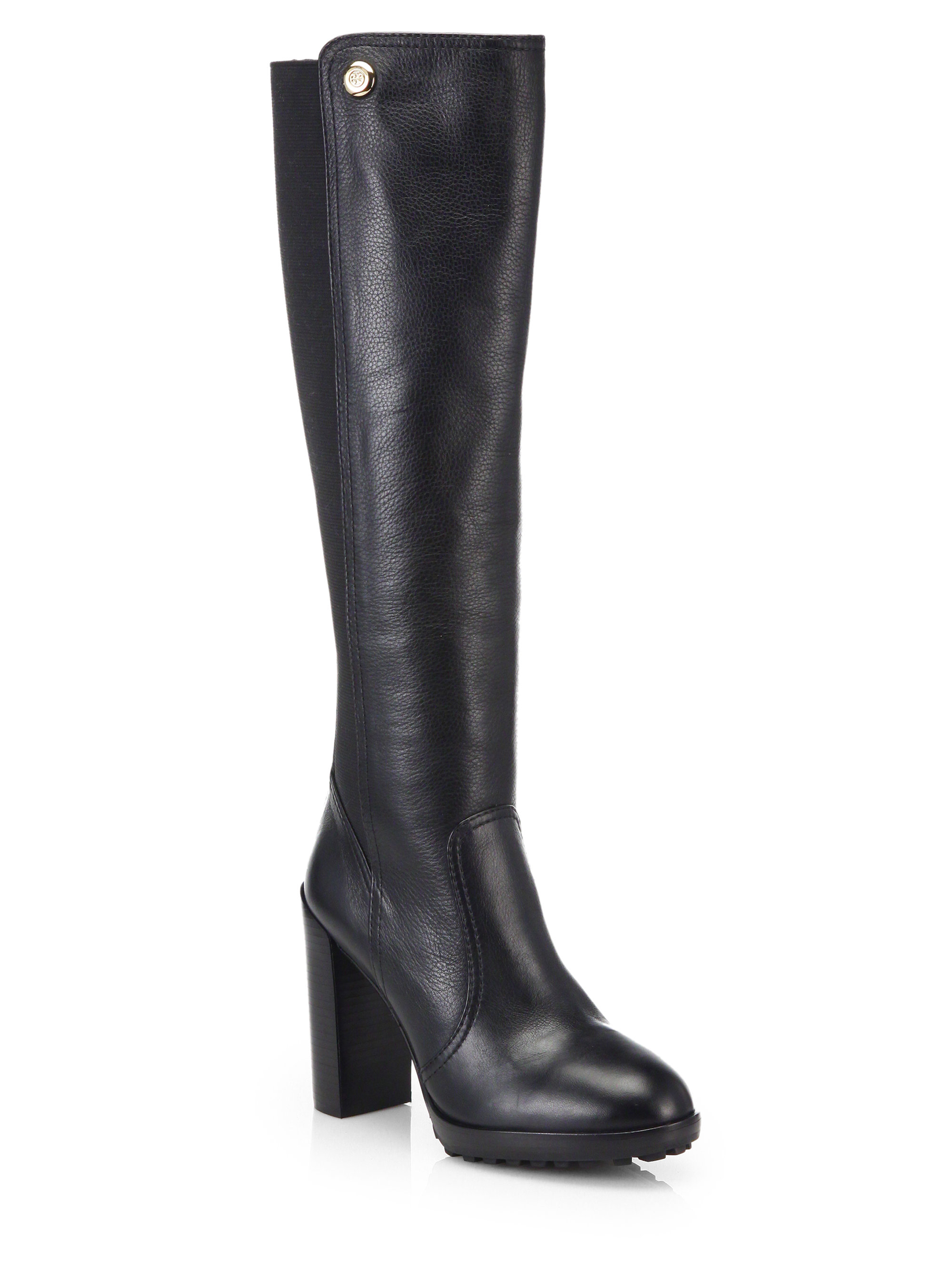 d22d12717a97 Lyst - Tory Burch Sullivan Knee-High Leather Boots in Black