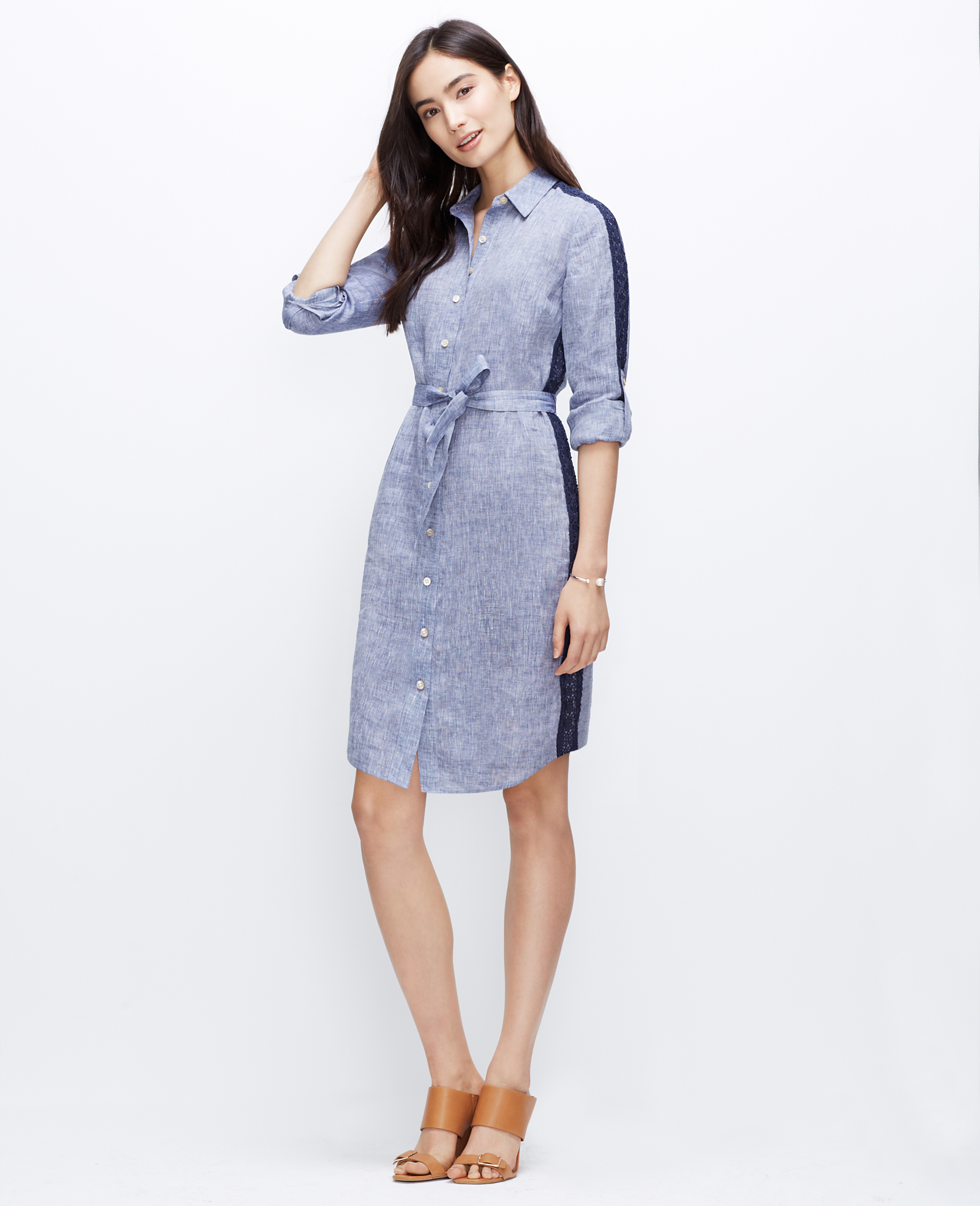 Lyst Ann Taylor Tall Lacy Linen Shirtdress In Blue
