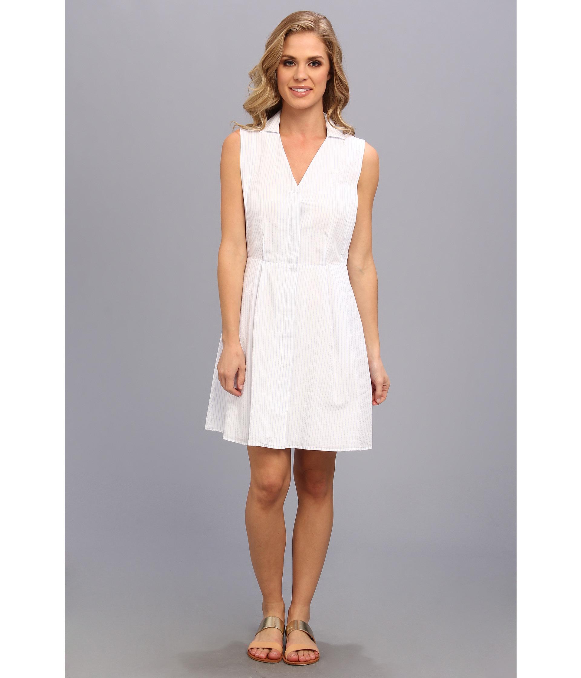 Lacoste Sleeveless Stripe Seersucker Shirtdress In White Lyst