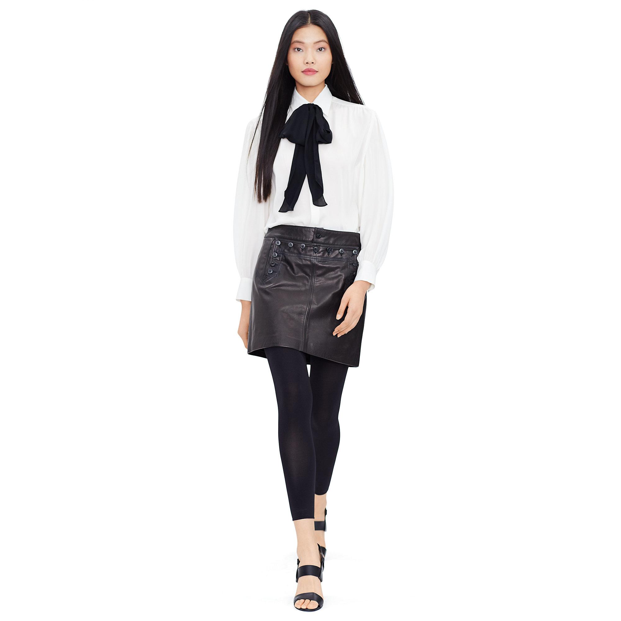 2b386e67c1beb1 Lyst - Polo Ralph Lauren Silk Georgette Necktie Blouse in Natural