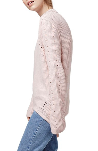 Pointelle Lyst In Crewneck Topshop Pink Sweater Ribbed qqwrF6X5