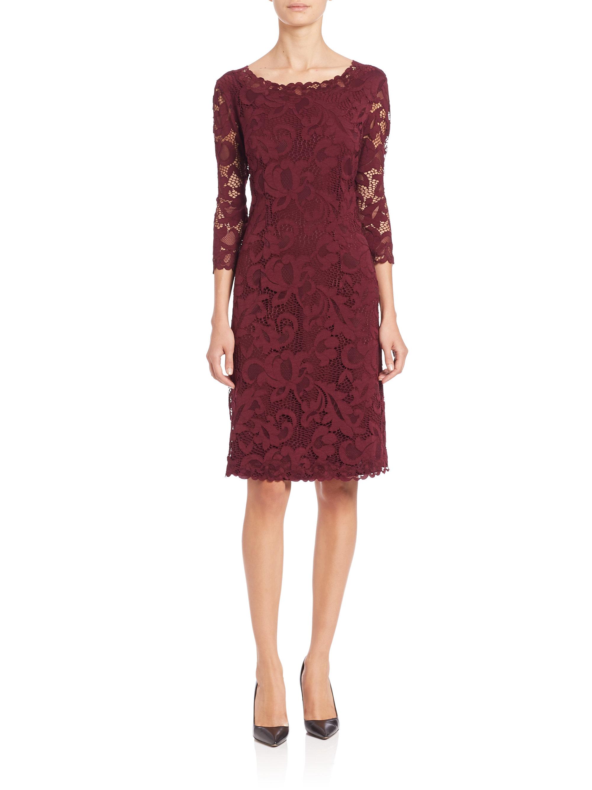 Josie Natori Three Quarter Sleeve Lace Dress In Purple