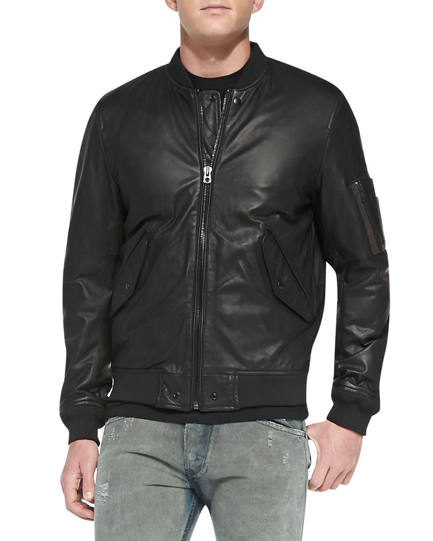 588bc8078 DIESEL Black Devra Lightweight Leather Bomber Jacket for men