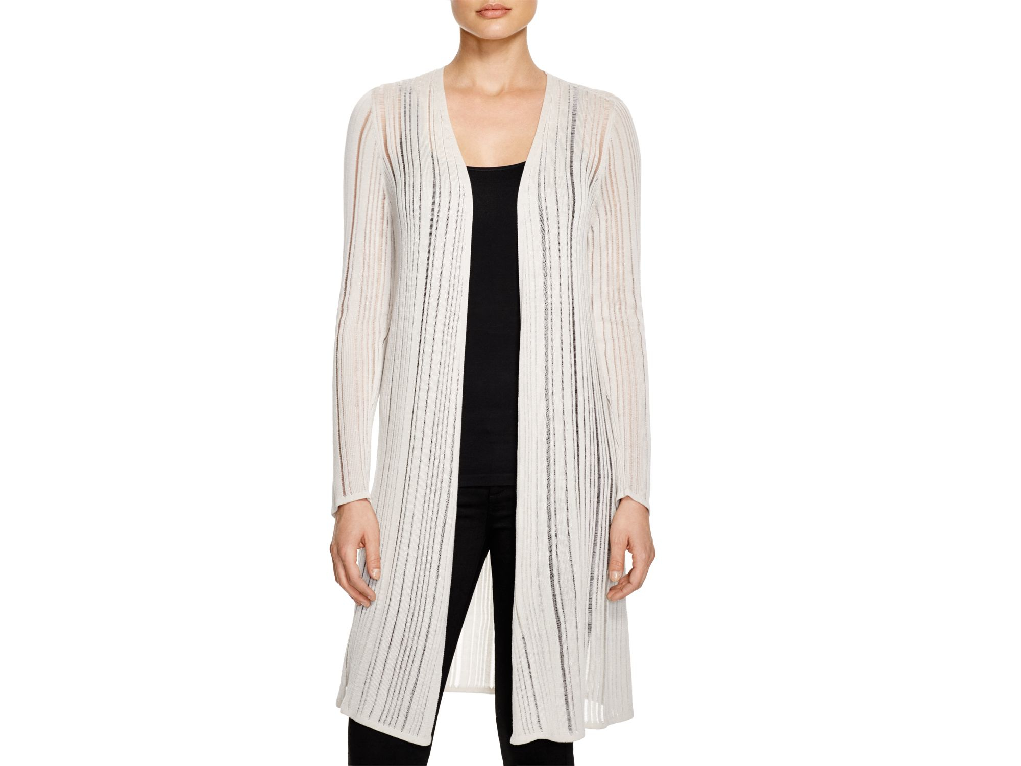Eileen fisher Sheer Stripe Long Cardigan in Natural | Lyst