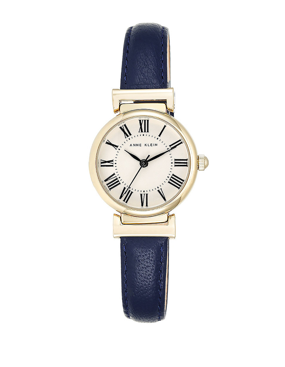 Anne klein goldtone and blue leather strap watch in blue lyst for Anne klein leather strap
