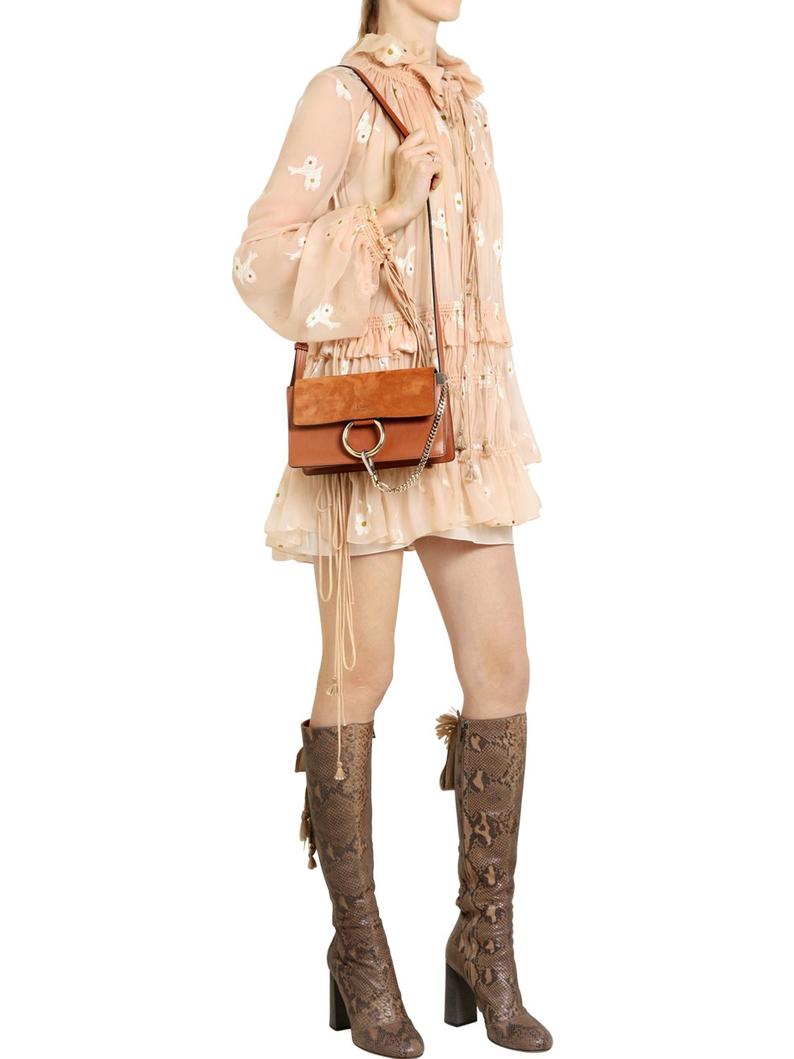 Chlo�� Small Faye Leather \u0026amp; Suede Shoulder Bag in Brown | Lyst