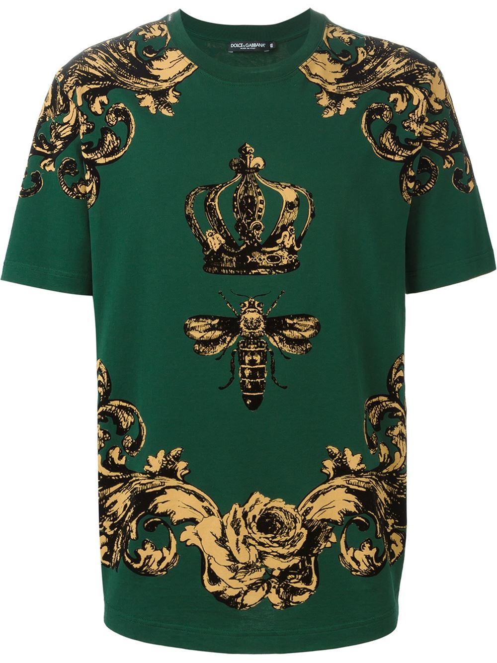 Dolce gabbana crown and bee print t shirt in yellow lyst for Dolce gabbana t shirt women