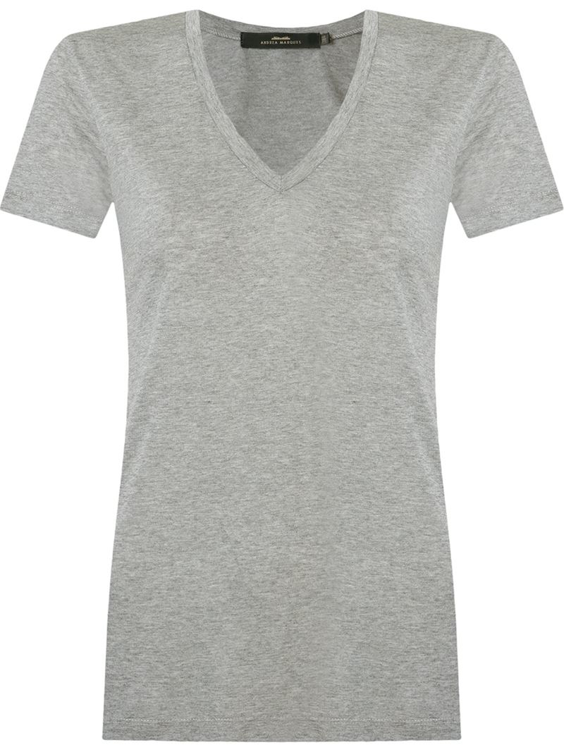 andrea marques deep v neck t shirt in gray grey lyst
