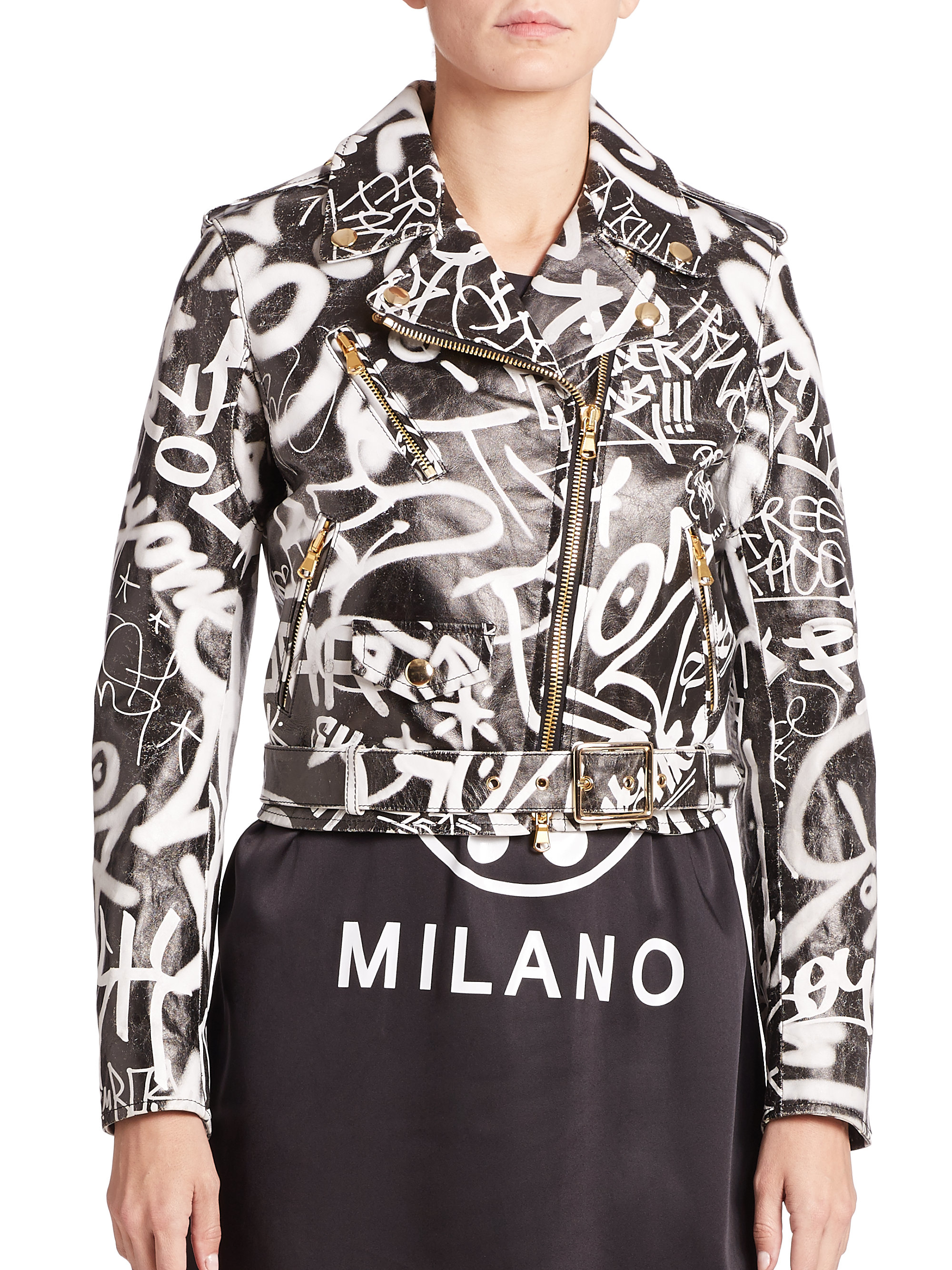 Lyst Moschino Graffiti Faux Leather Jacket In Black