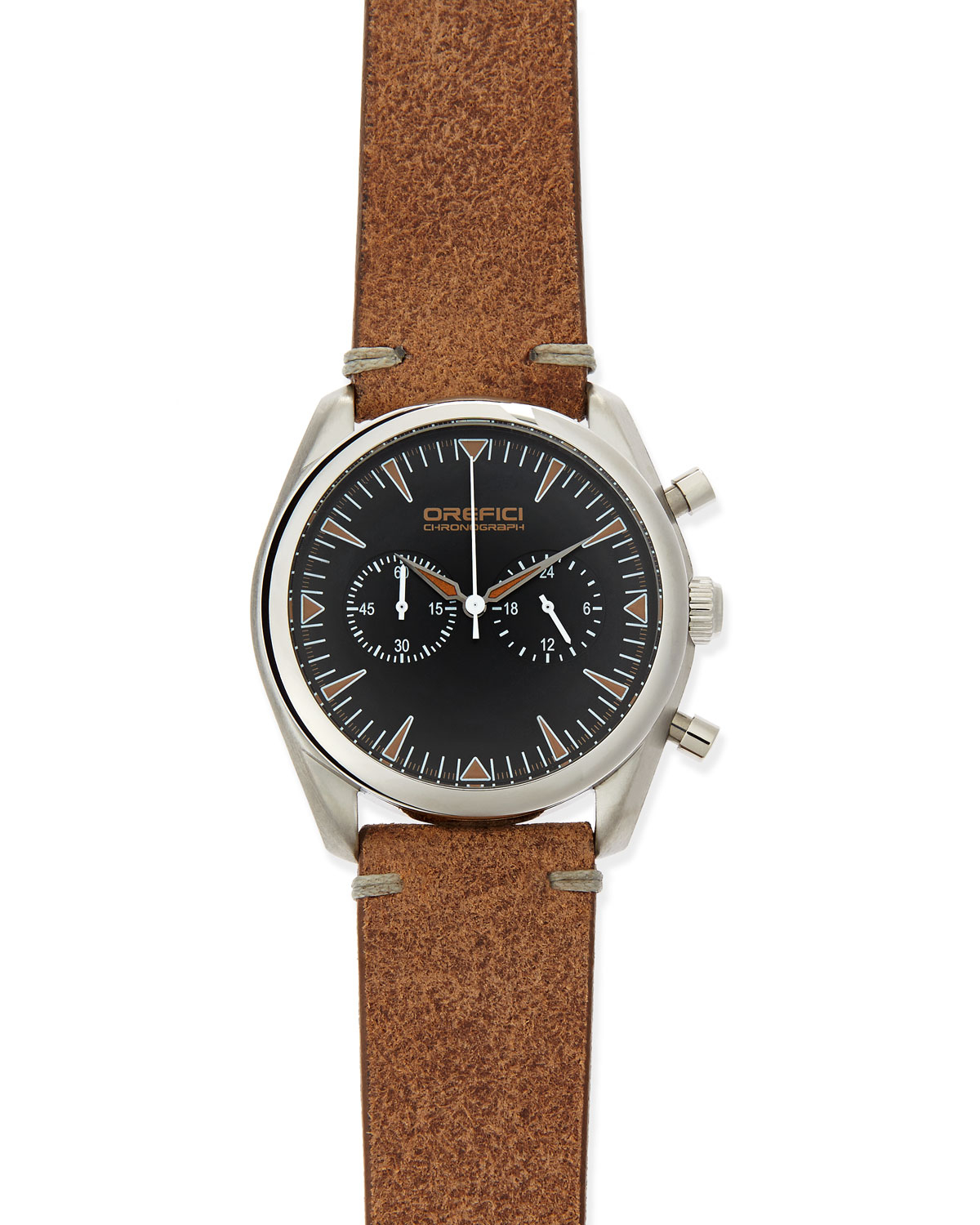 orefici watches vintage 42mm chronograph in brown