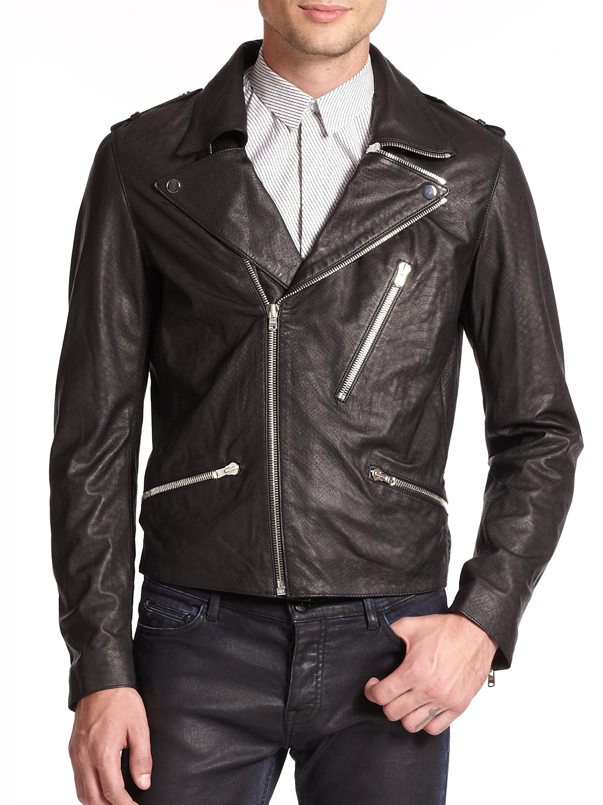 The kooples Lambskin Leather Jacket in Black for Men | Lyst