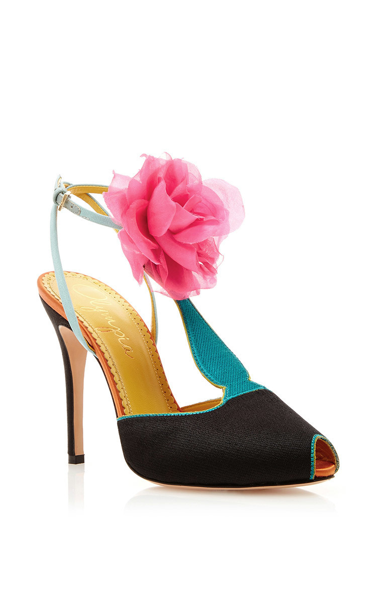 Charlotte Olympia Silk Satin Amphora T Strap Heels With Floral Pom