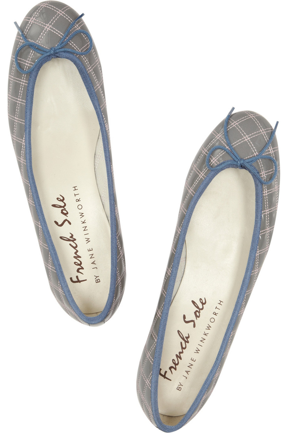 466ed4397a71b French Sole Henrietta Quilted Patentleather Ballet Flats in Gray - Lyst