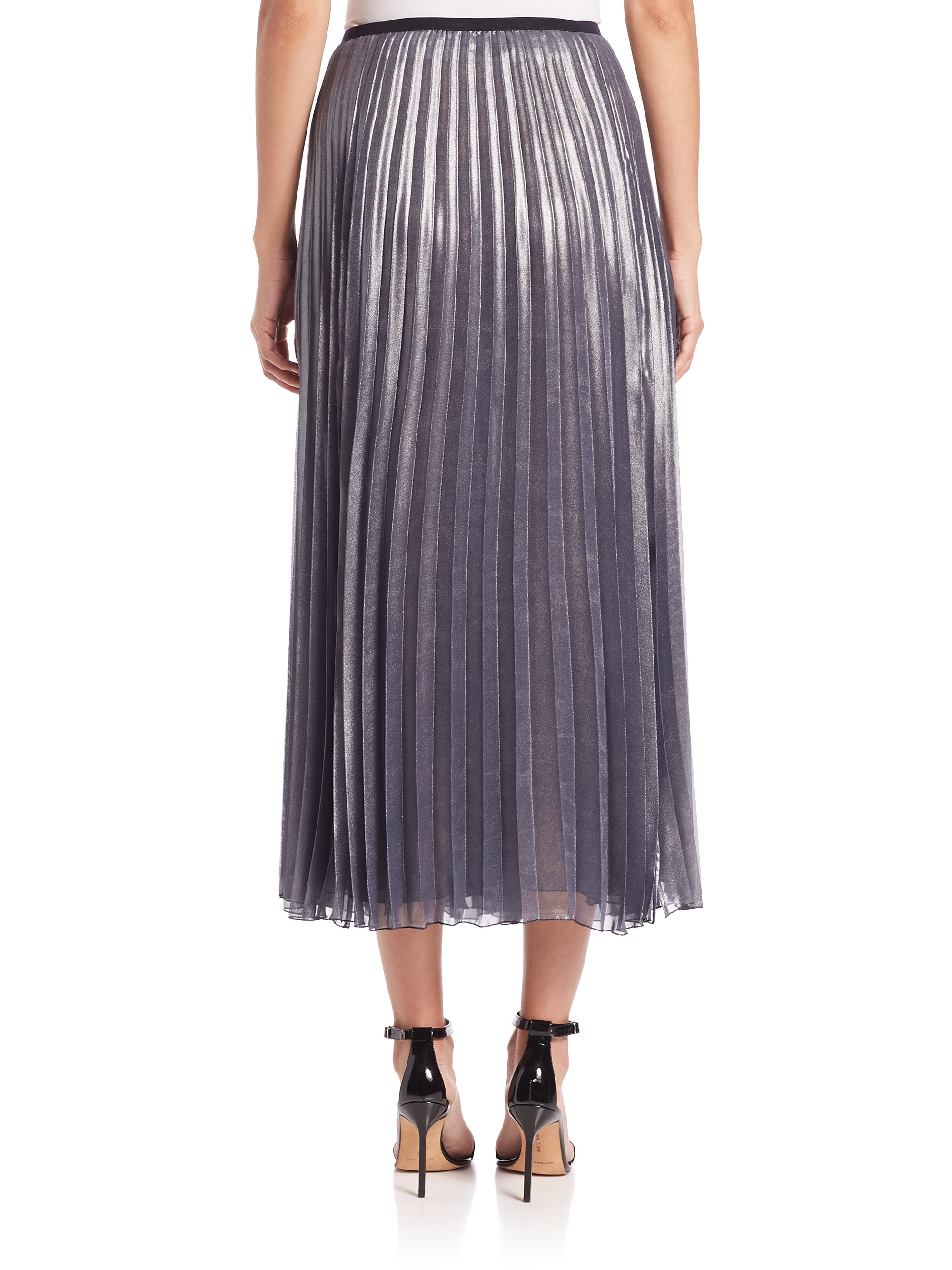 peserico lame pleated skirt in blue lyst