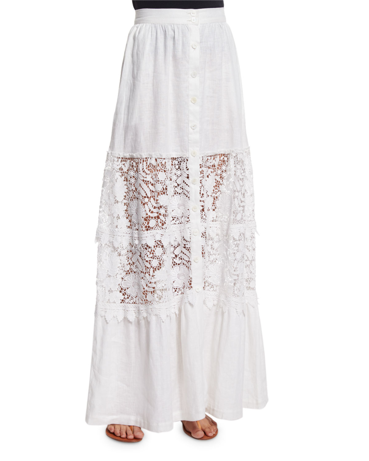 miguelina kimora lace inset maxi skirt in white