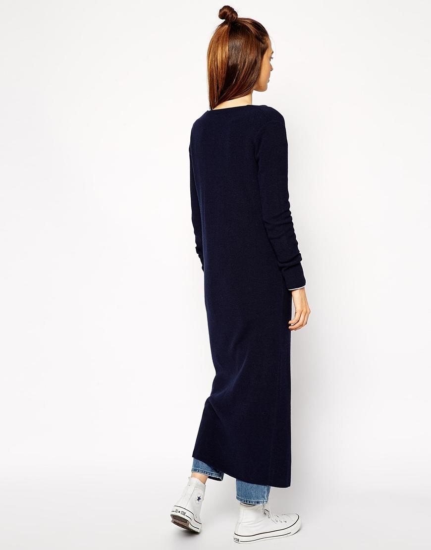 Asos Longline Cardigan In Skinny Rib in Blue | Lyst