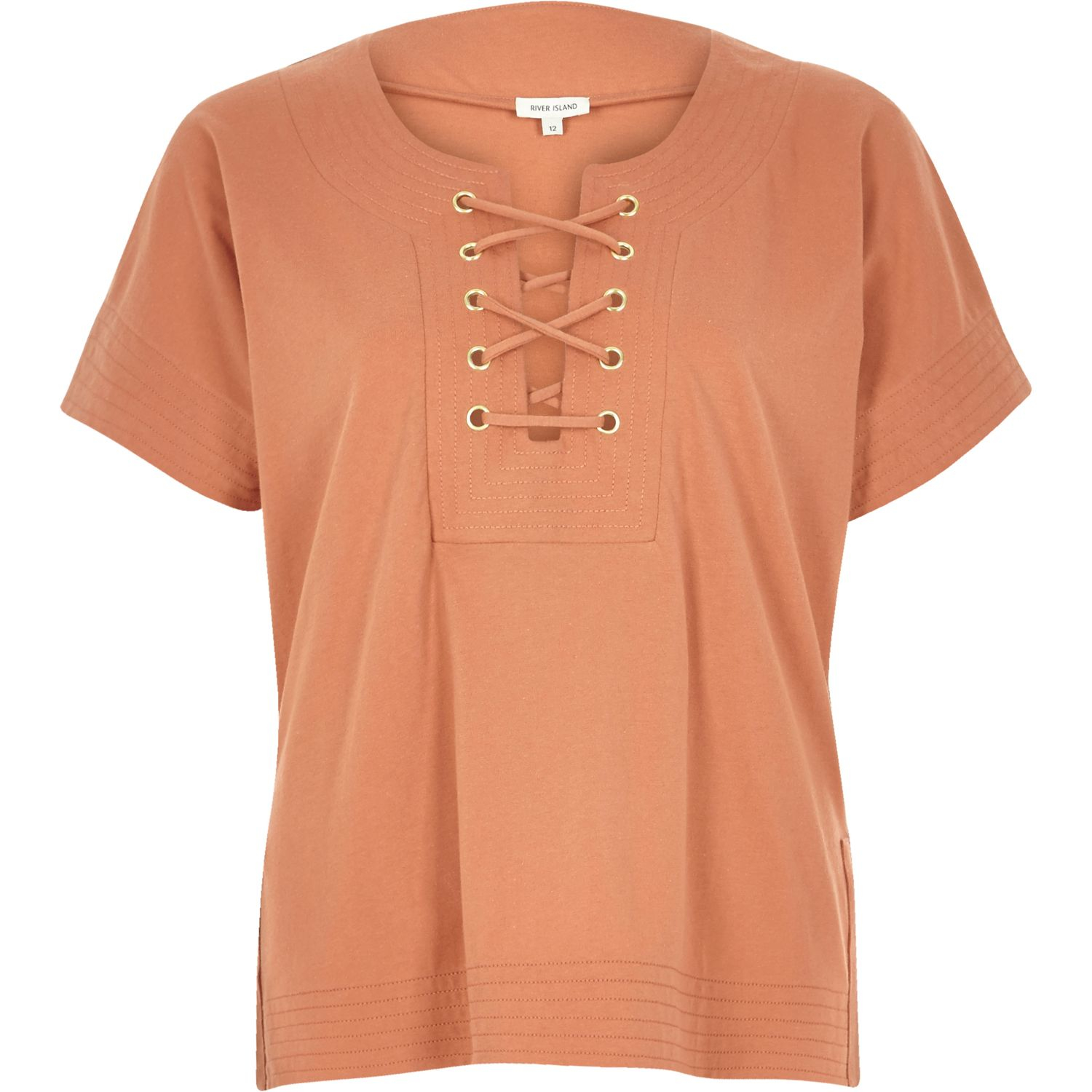 Lyst River Island Rust Lace Up Front T Shirt In Blue