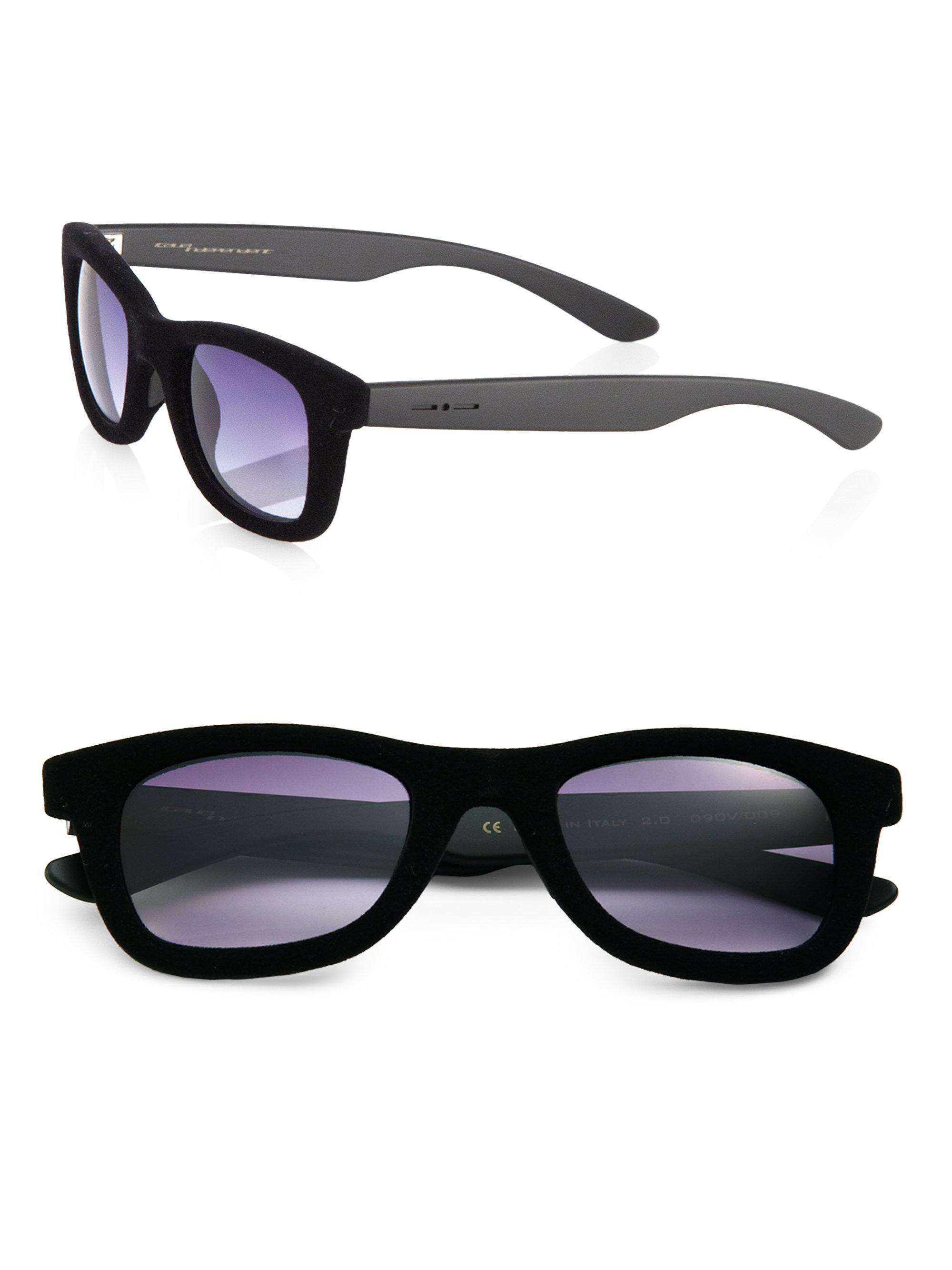 346ee354ead8 Italia Independent Square Velvet Frame Sunglasses in Black for Men ...