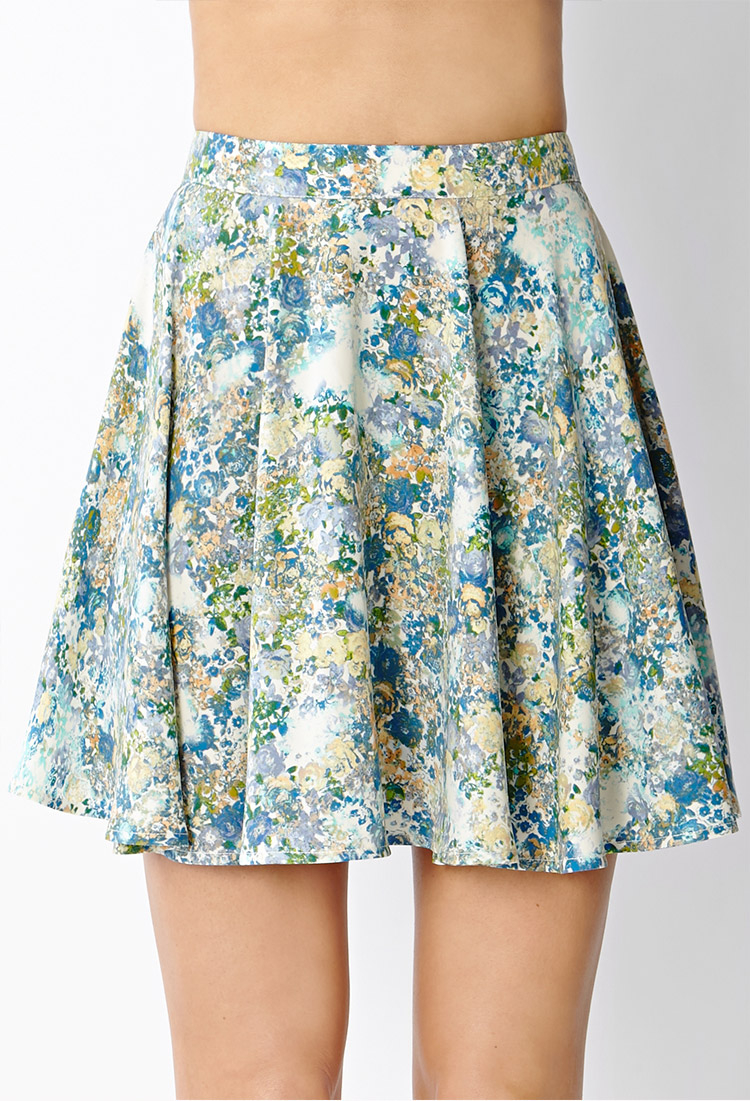 forever 21 floral skater skirt in blue beige blue