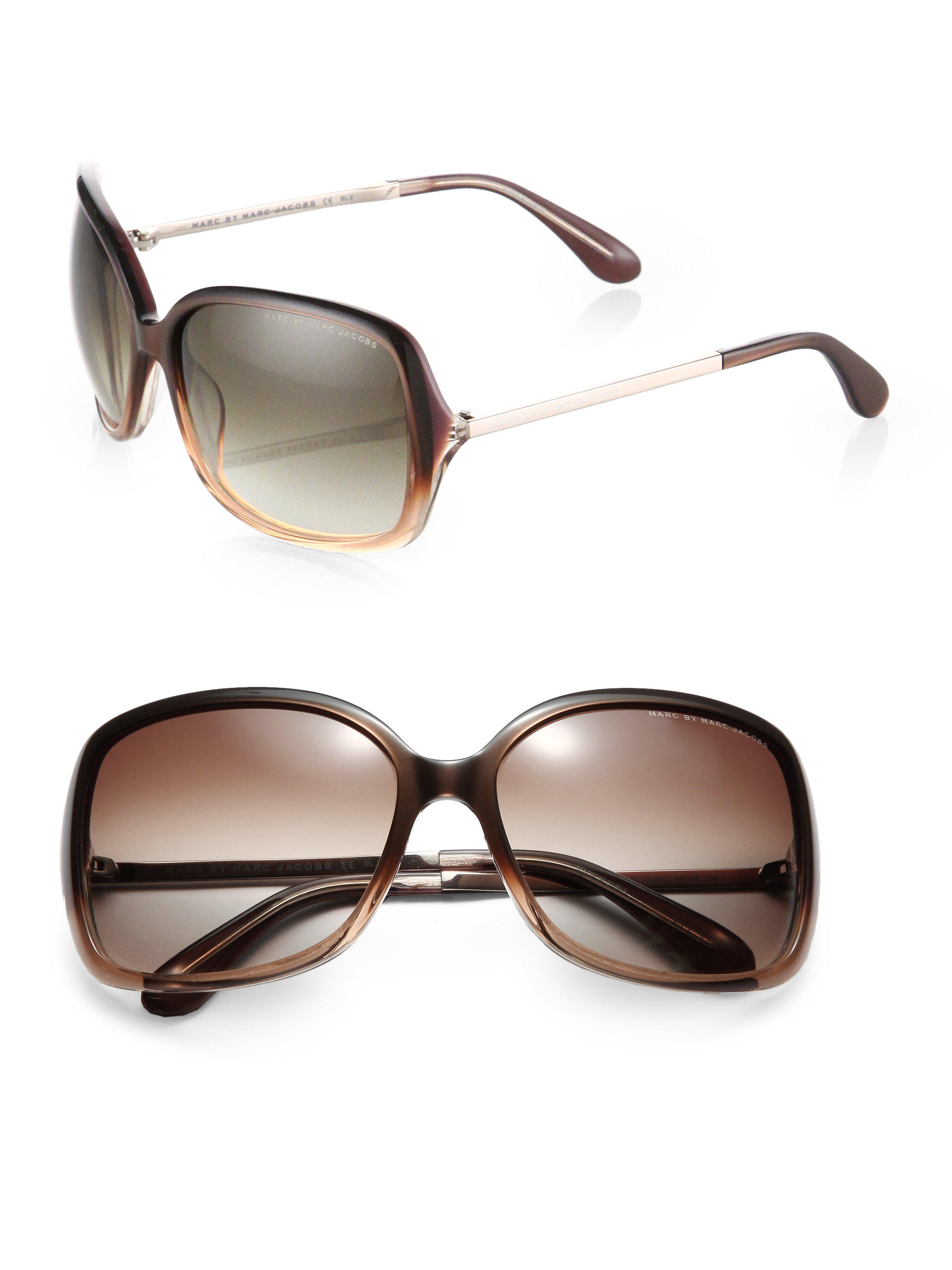 ab5b771e14 Lyst - Marc By Marc Jacobs Oversized Square Plastic Sunglasses in Brown