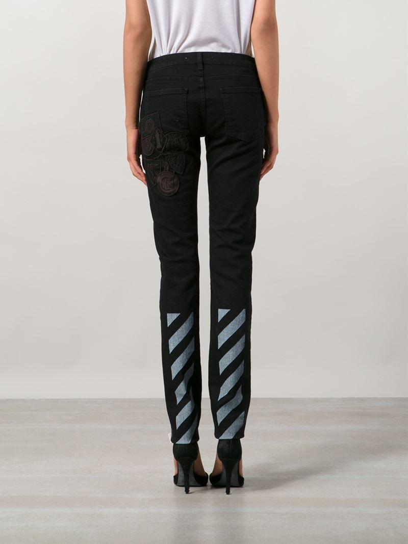 Off-White c/o Virgil Abloh Appliqué Detail Skinny Jeans in Black