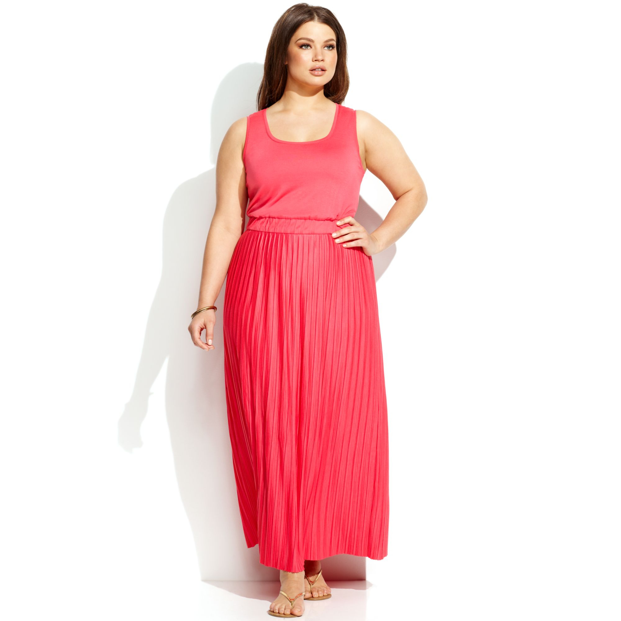 Calvin Klein Plus Size Sleeveless Pleated Dress In Pink Lyst