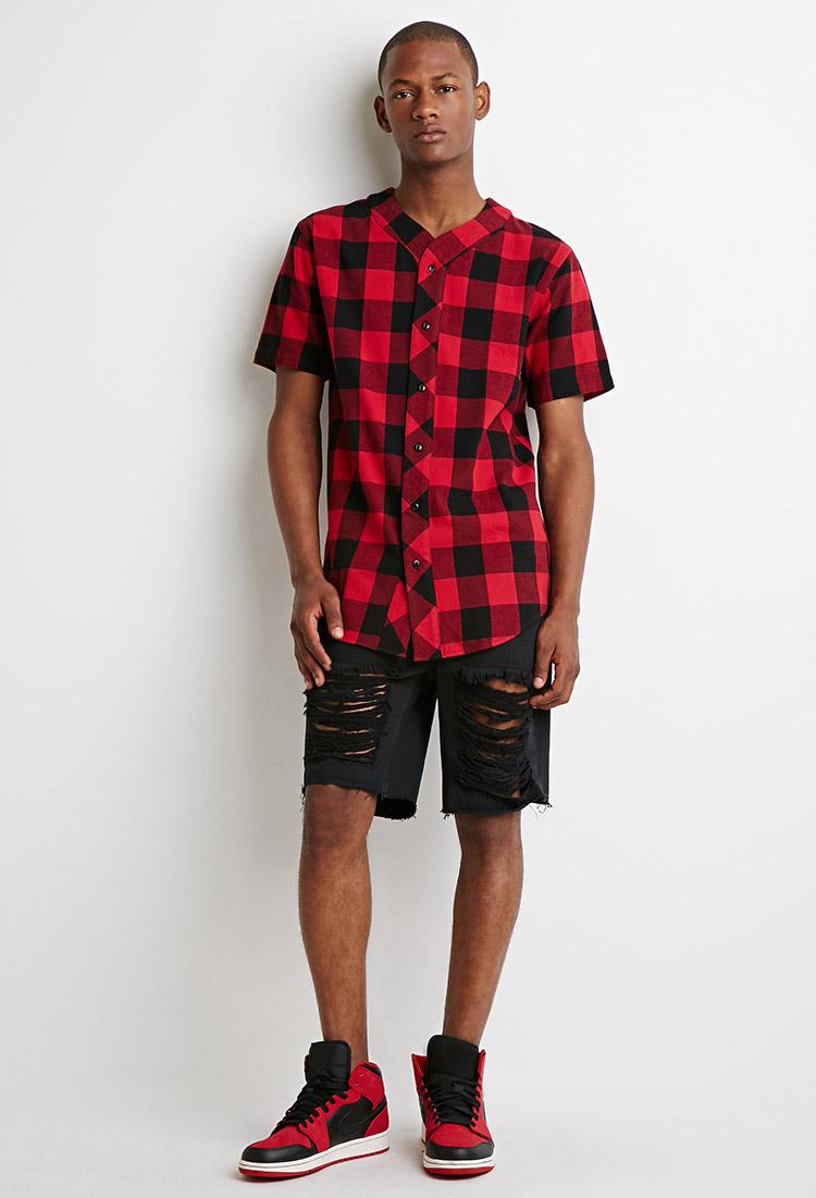 Forever 21 buffalo plaid baseball shirt in red for men lyst for Mens black plaid dress shirt