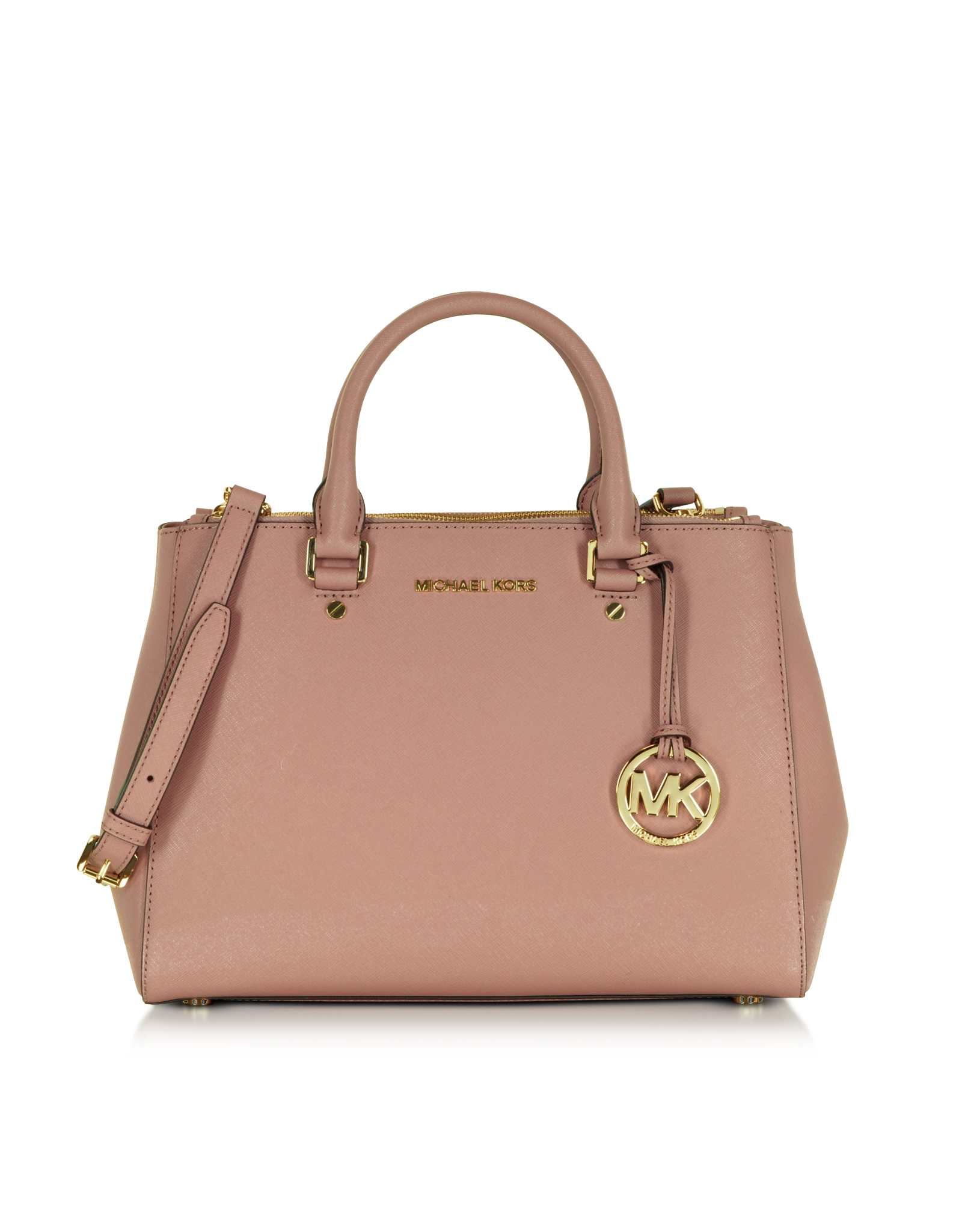michael kors sutton medium saffiano leather satchel bag in pink lyst. Black Bedroom Furniture Sets. Home Design Ideas