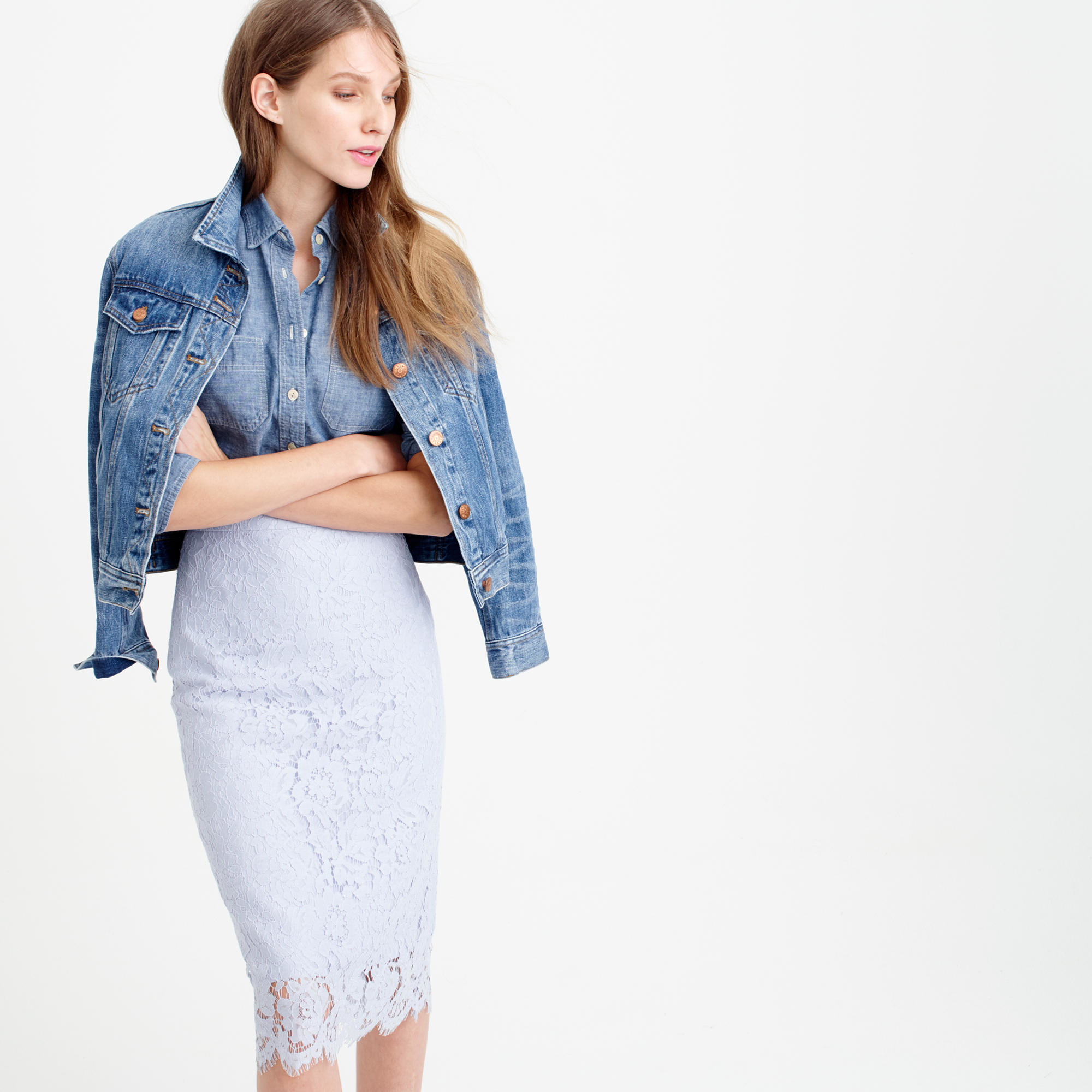 J.crew Collection Lace Pencil Skirt in Purple | Lyst