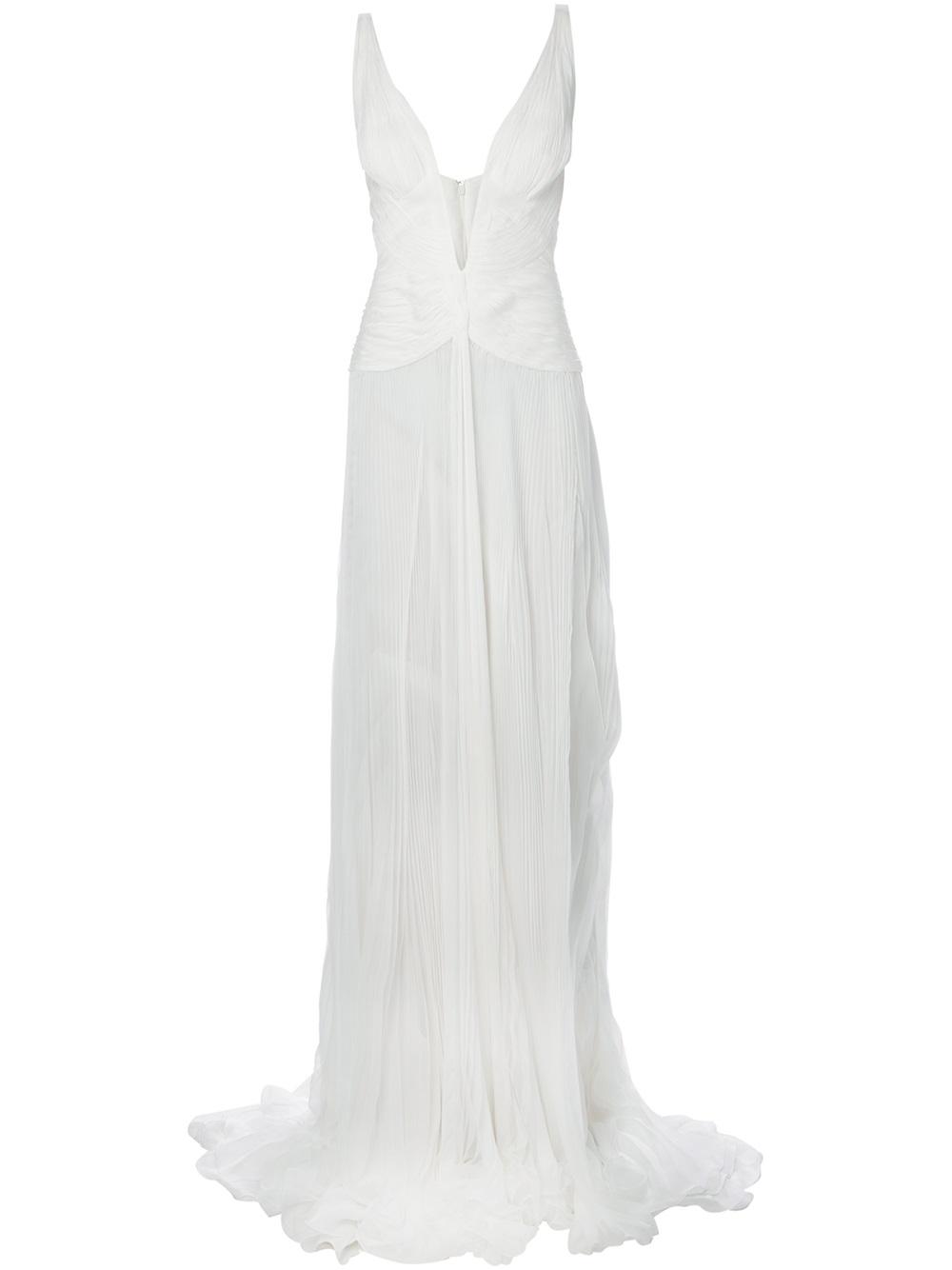 Lyst - Roberto Cavalli Plunge Neck Evening Dress in White 7a177ce97