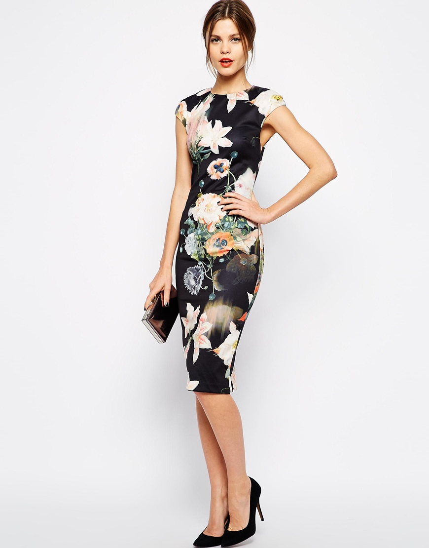 Lyst Ted Baker Midi Dress In Opulent Bloom Print In Black