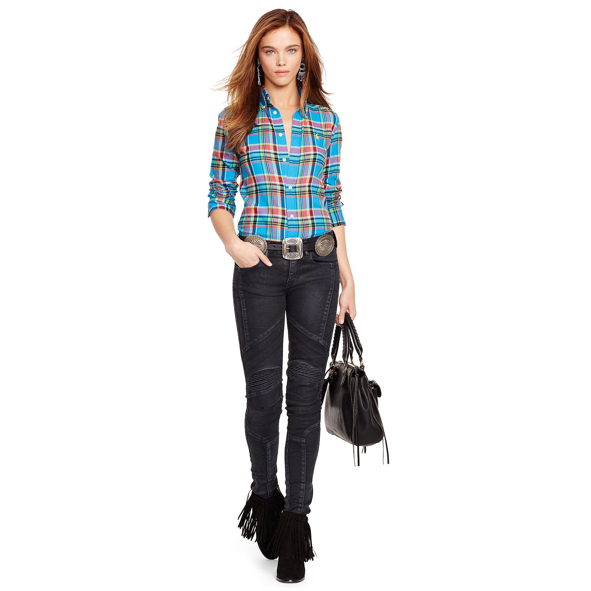 bc52af893186 Lyst - Polo Ralph Lauren Plaid Cotton Twill Shirt in Blue