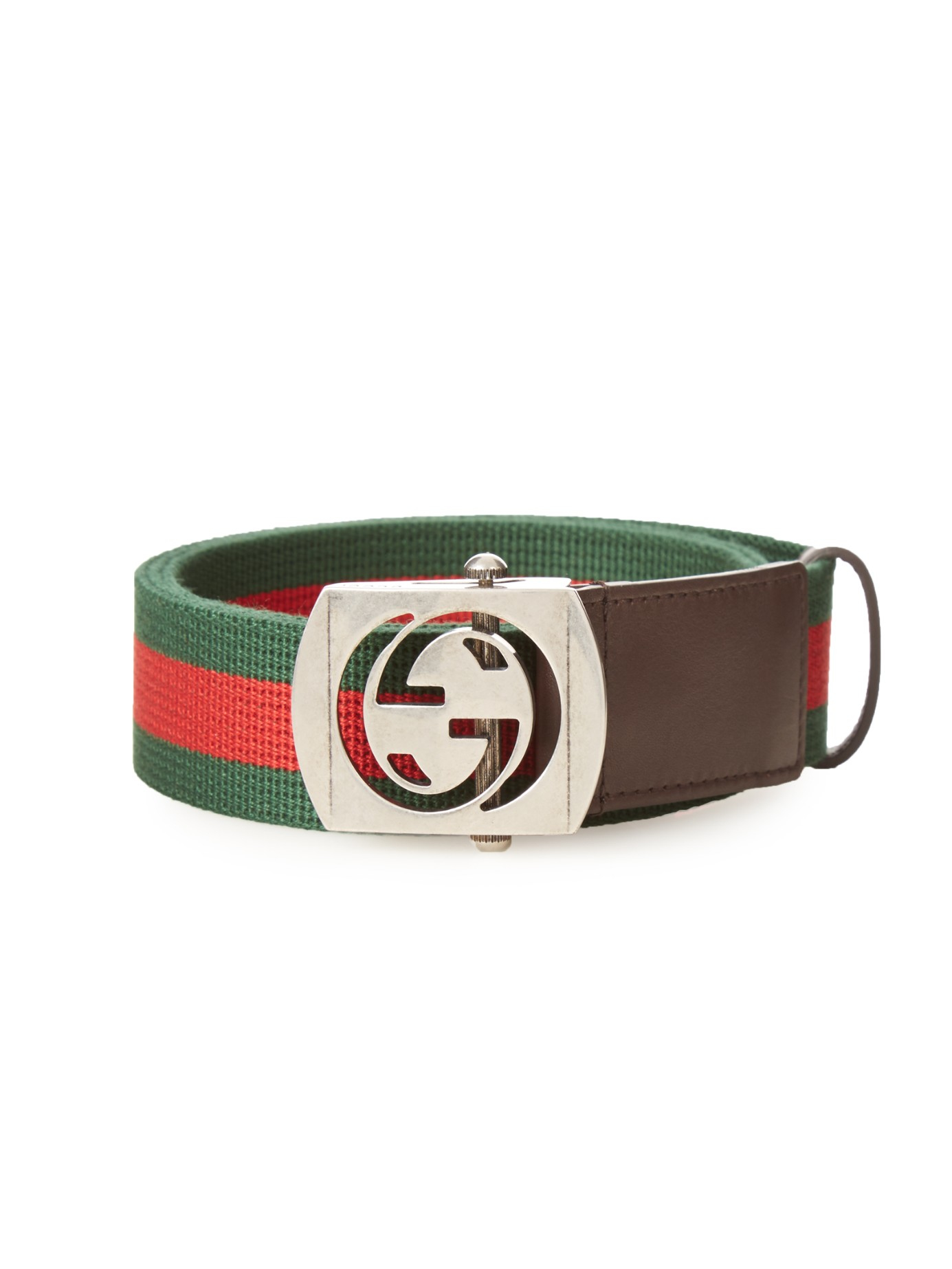 2f1e9ff6ec4 Gucci Gg-buckle Canvas Belt in Green for Men - Lyst