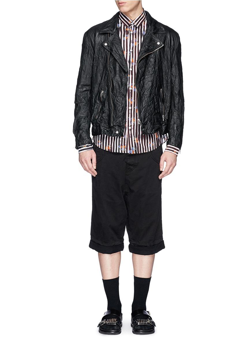 McQ Crinkle Leather Biker Jacket in Black for Men