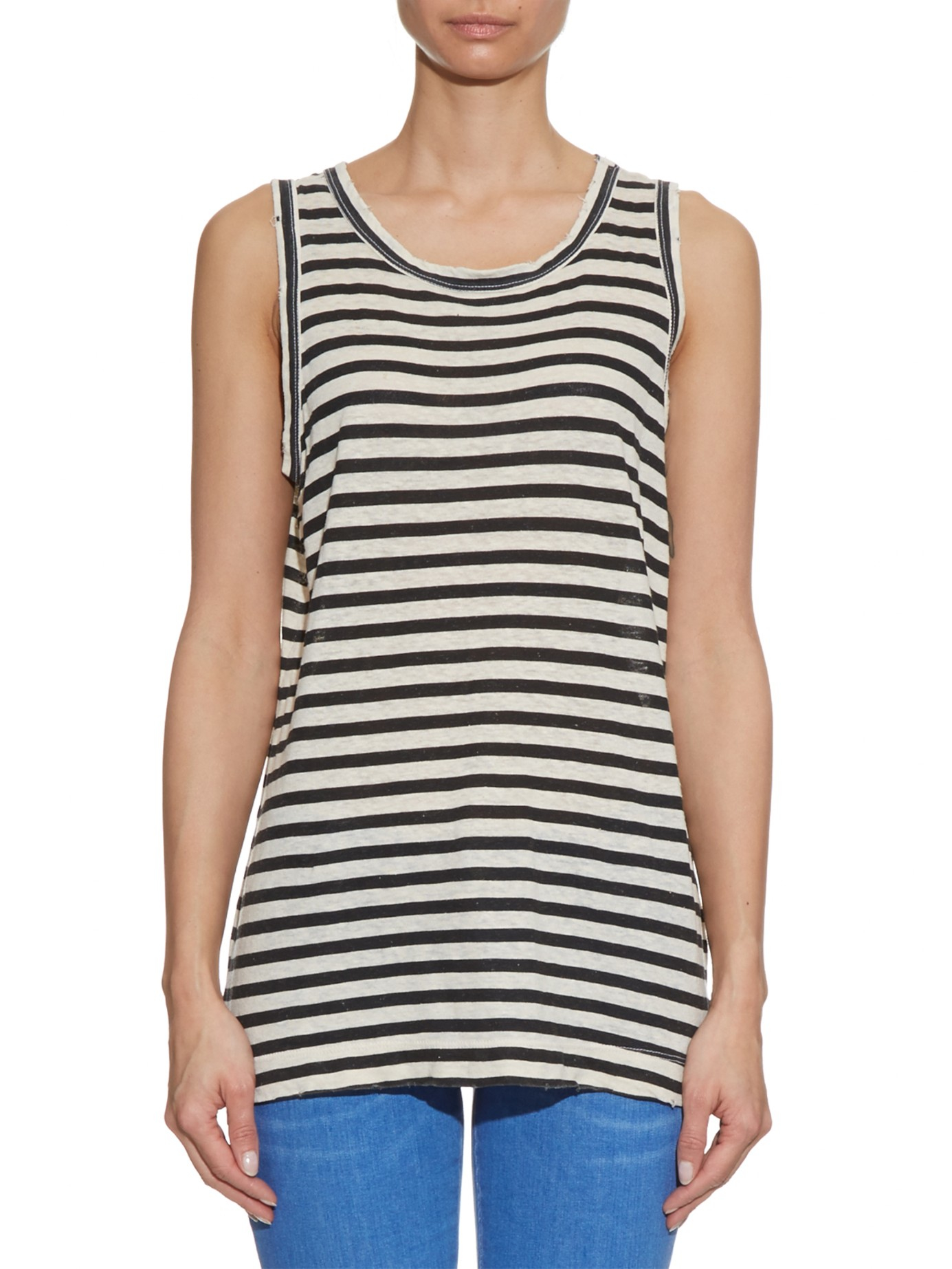 Inexpensive Sale Online Current/elliott Woman The Muscle Striped Cotton And Modal-blend Tank Brick Size 3 Current Elliott Buy Cheap 2018 Unisex sd464P52XQ