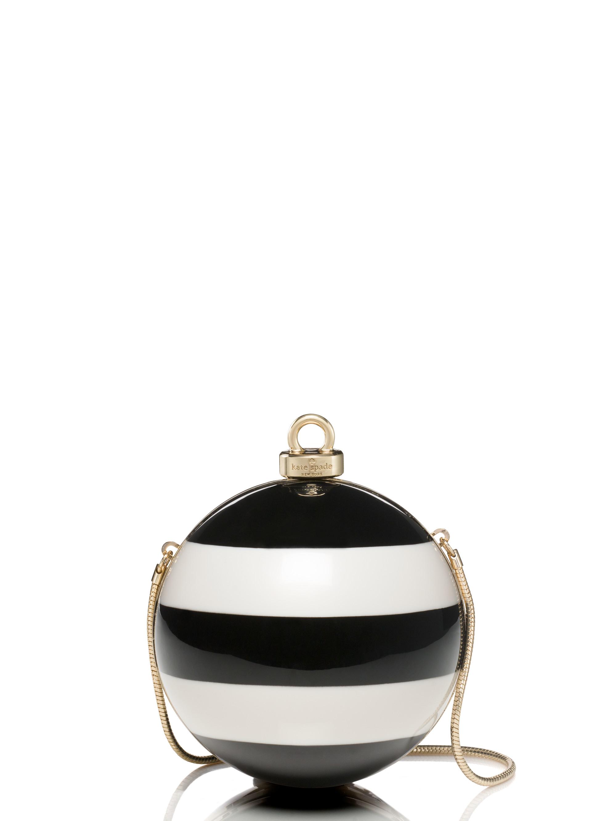 Lyst - Kate Spade New York Stripe Ornament Clutch in Black
